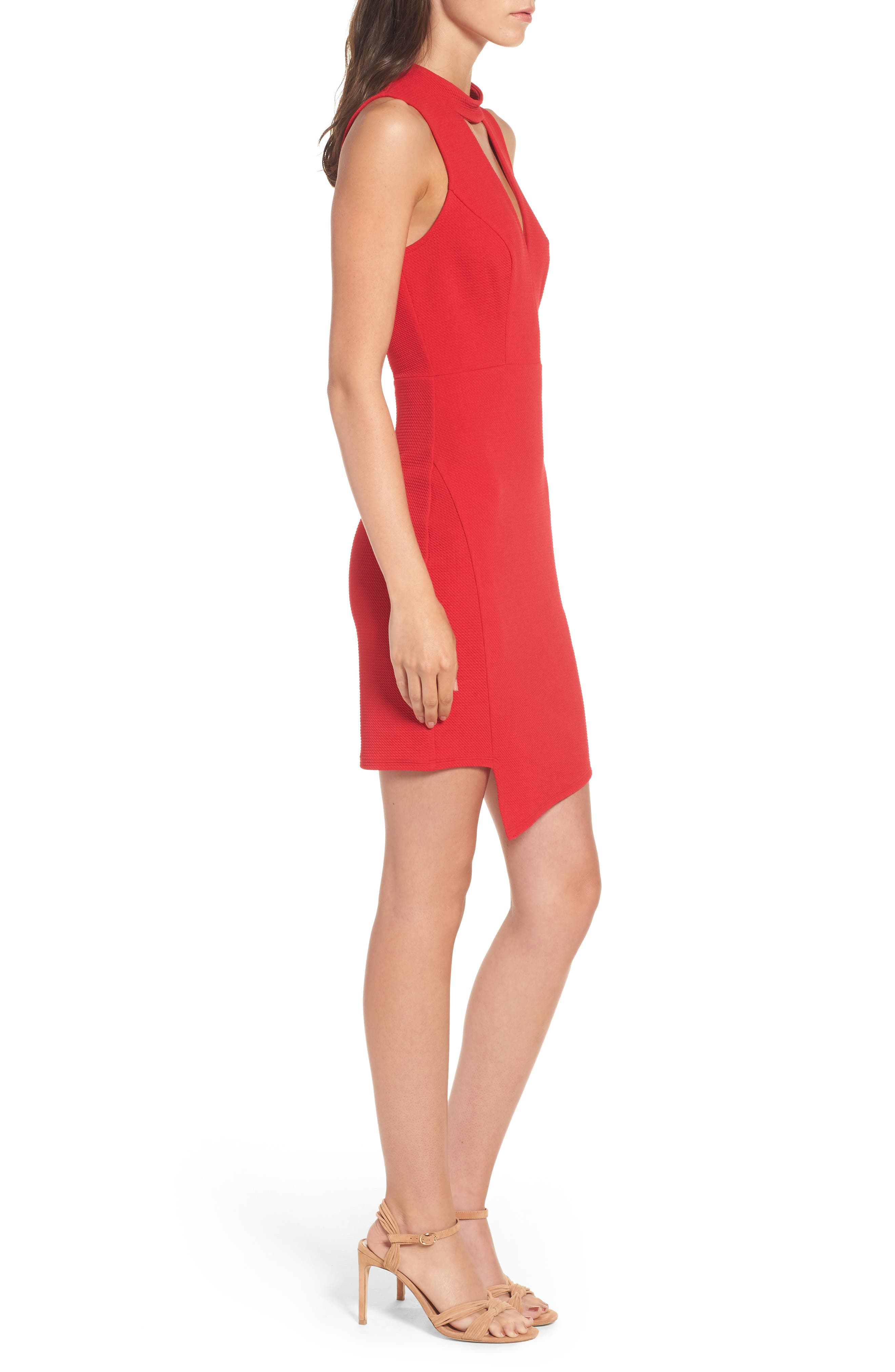 Asymmetrical Body-Con Dress,                             Alternate thumbnail 3, color,                             Cherry Bomb