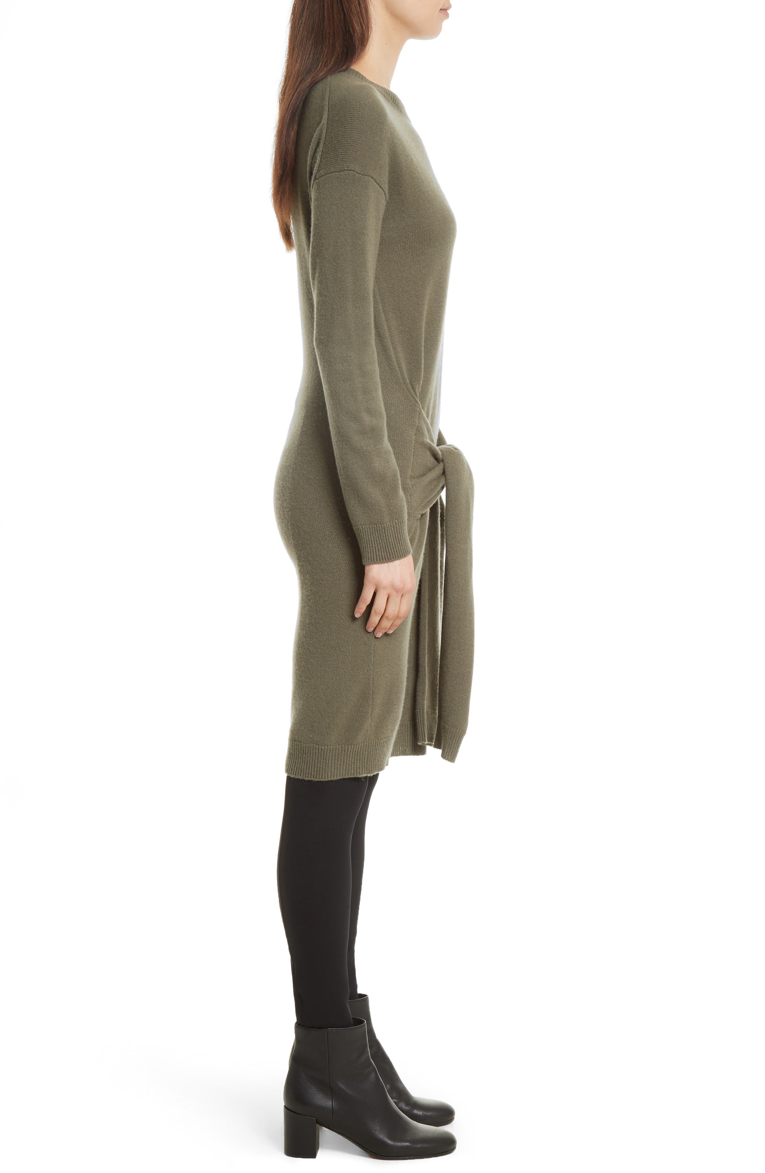 Long Sleeve Tie Waist Sweater Dress,                             Alternate thumbnail 3, color,                             Olivewood