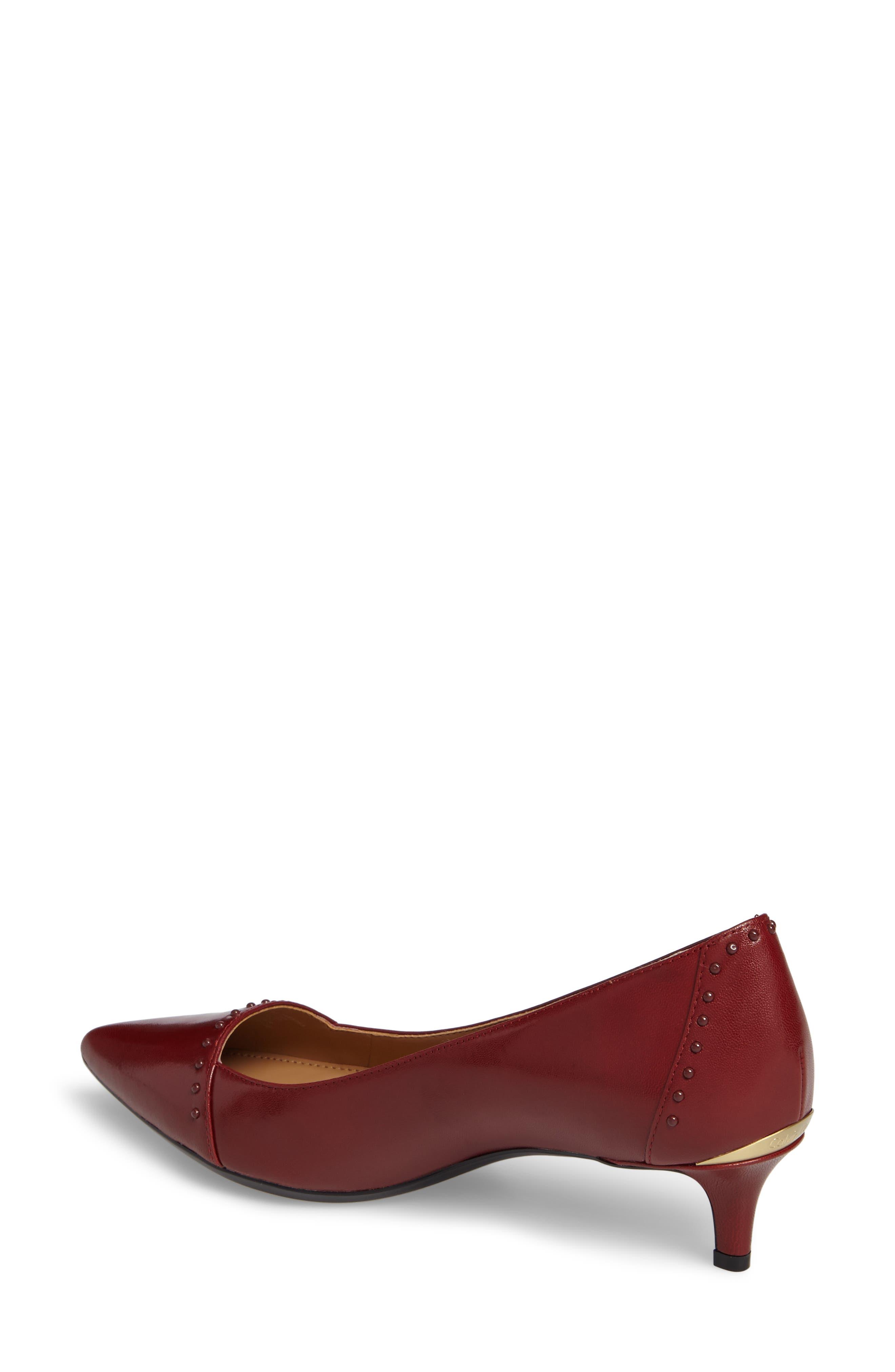 Griselda Studded Cap Toe Pump,                             Alternate thumbnail 2, color,                             Cherry Red