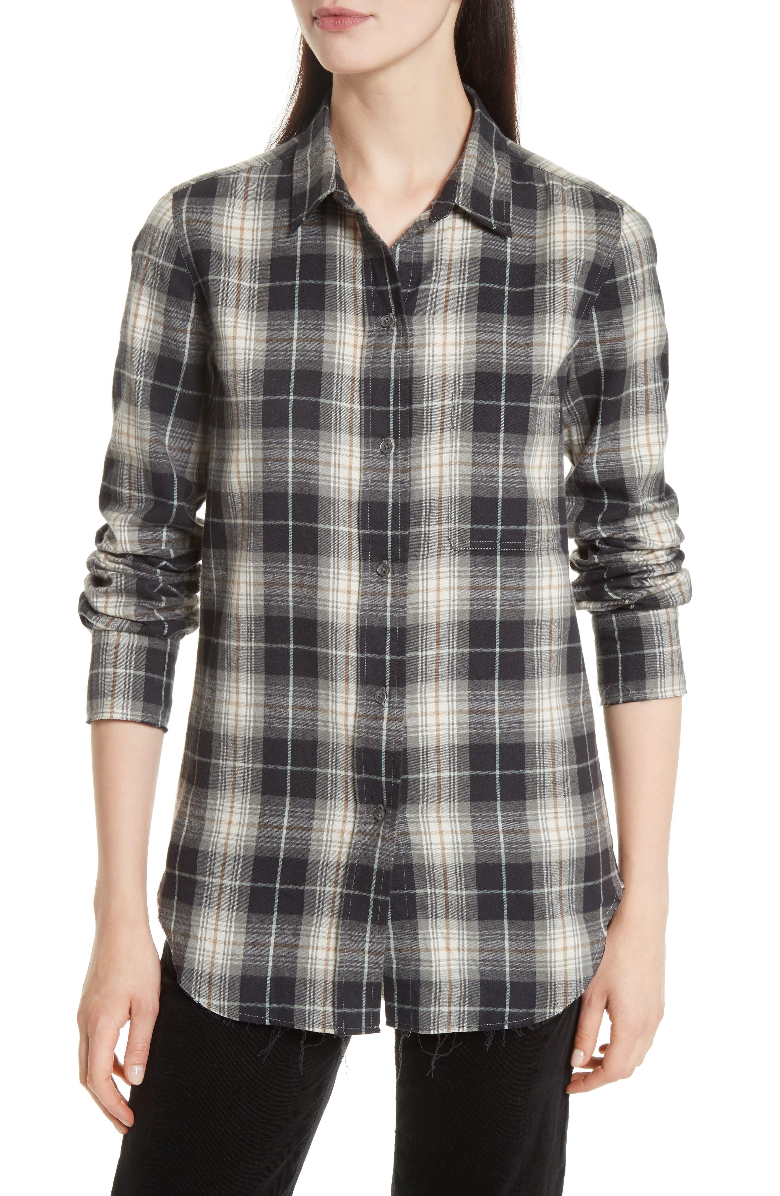 VINCE Tartan Plaid Oversize Shirt