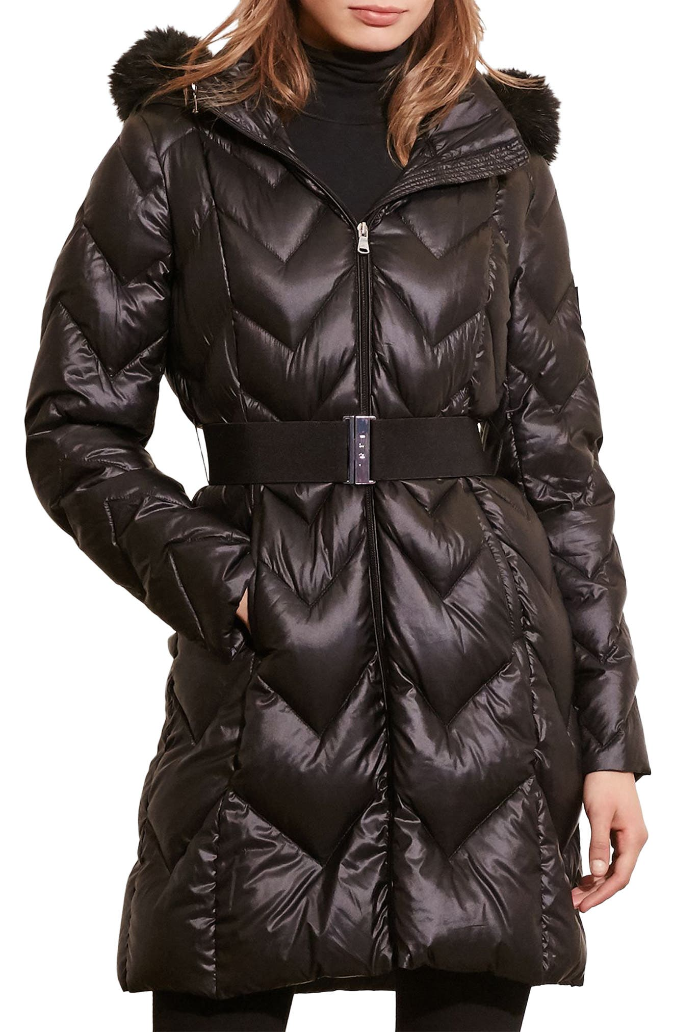 Belted Down Coat with Faux Fur Trim,                             Main thumbnail 1, color,                             Black