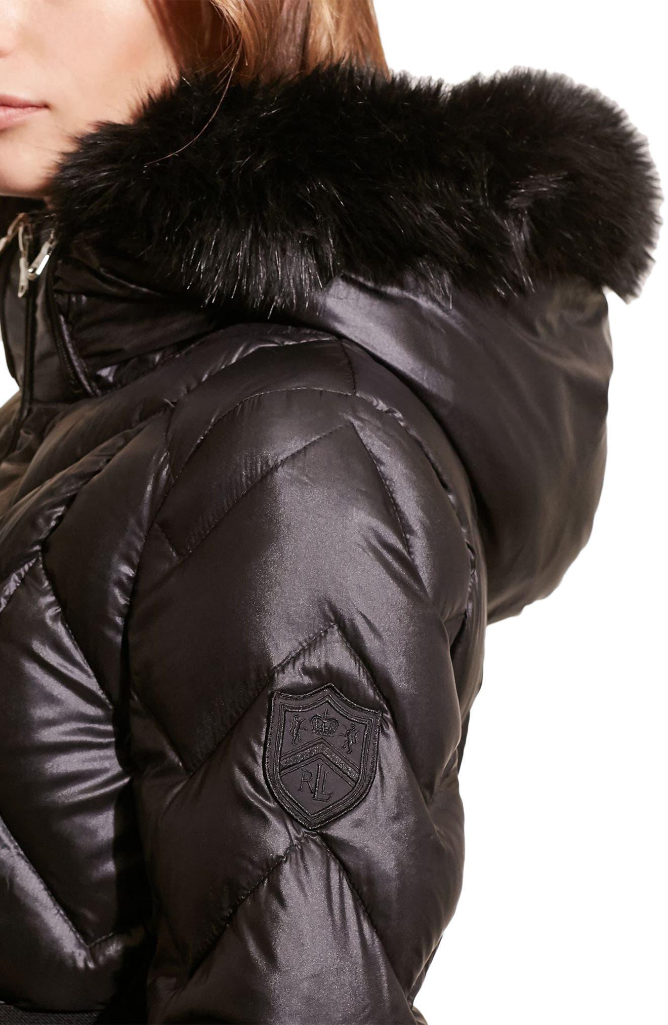 Belted Down Coat with Faux Fur Trim,                             Alternate thumbnail 4, color,                             Black