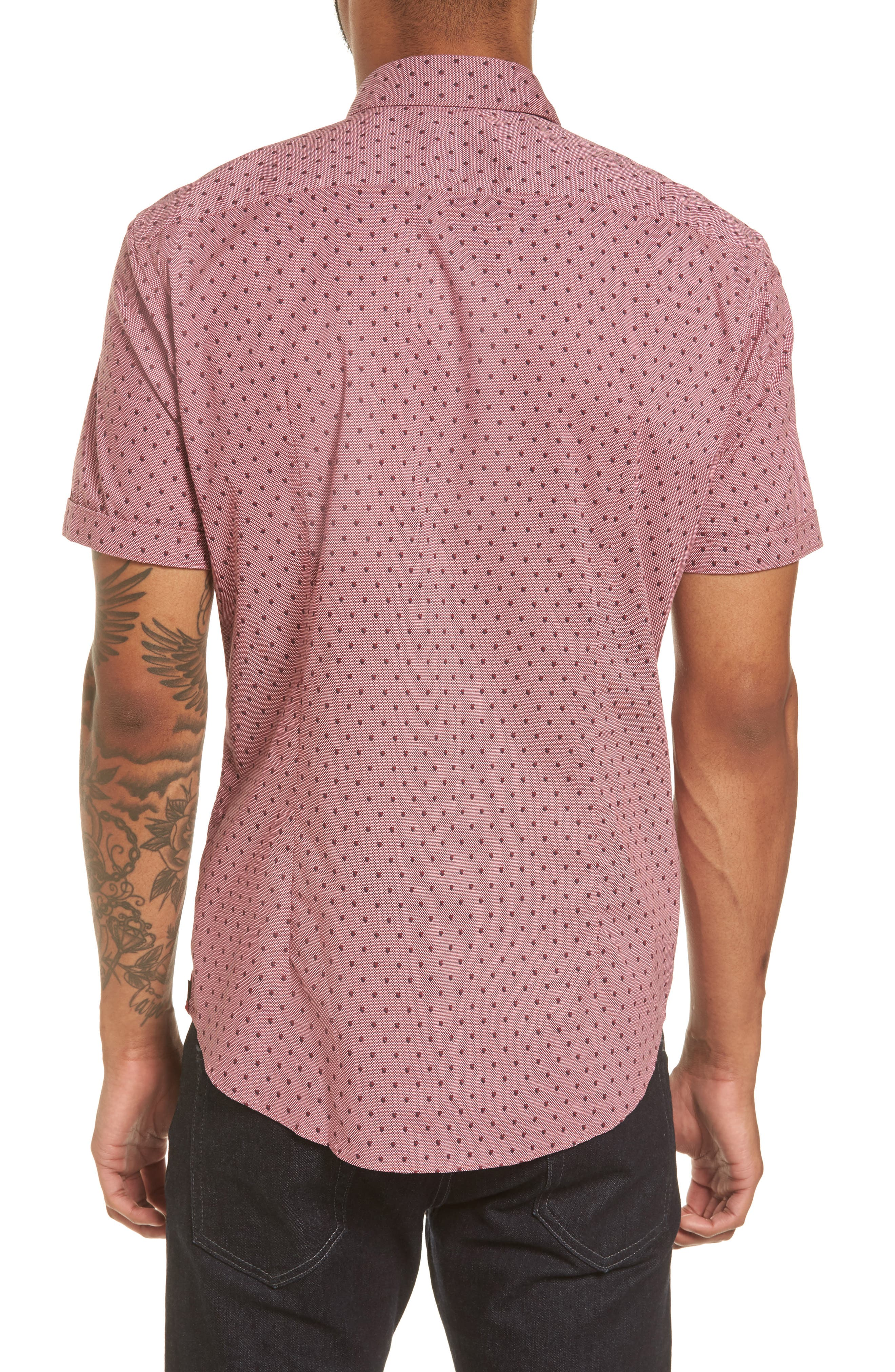 Robb Sharp Fit Print Sport Shirt,                             Alternate thumbnail 2, color,                             Red