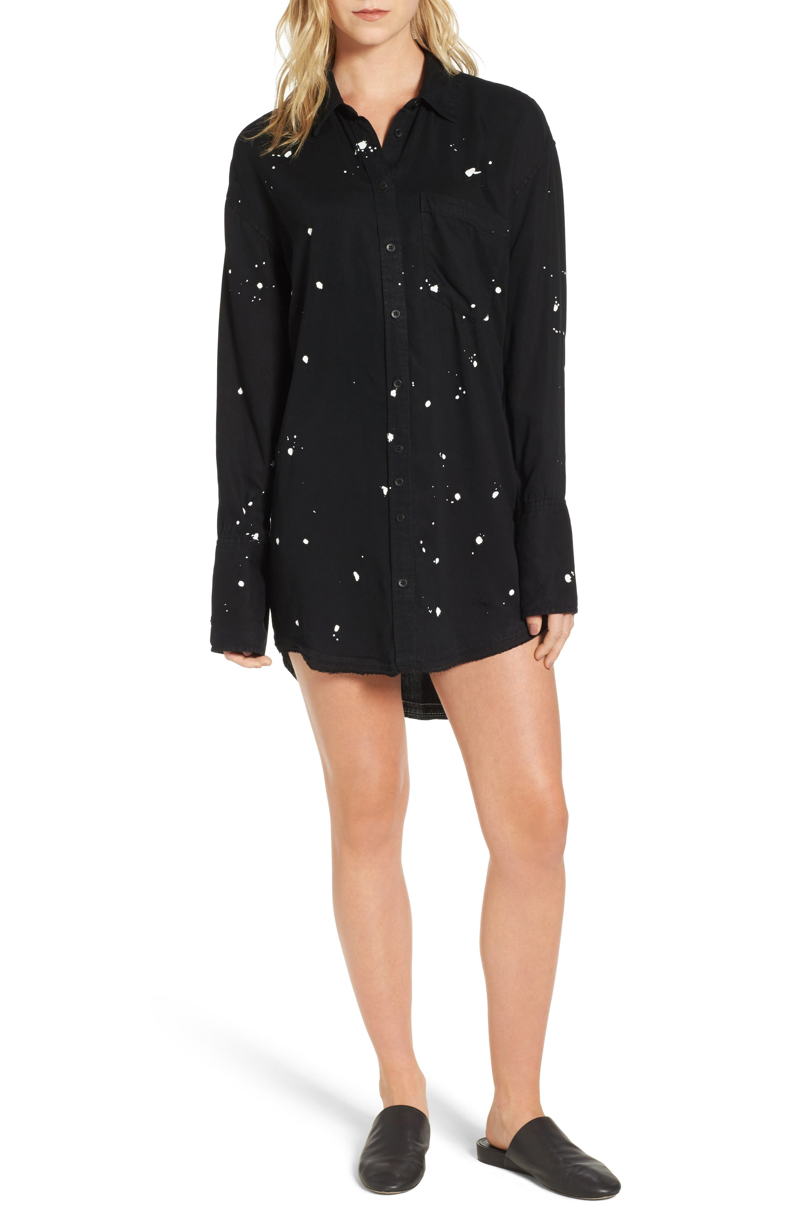Rivington & Essex Shirtdress,                         Main,                         color, Solid Black Overdye With Paint