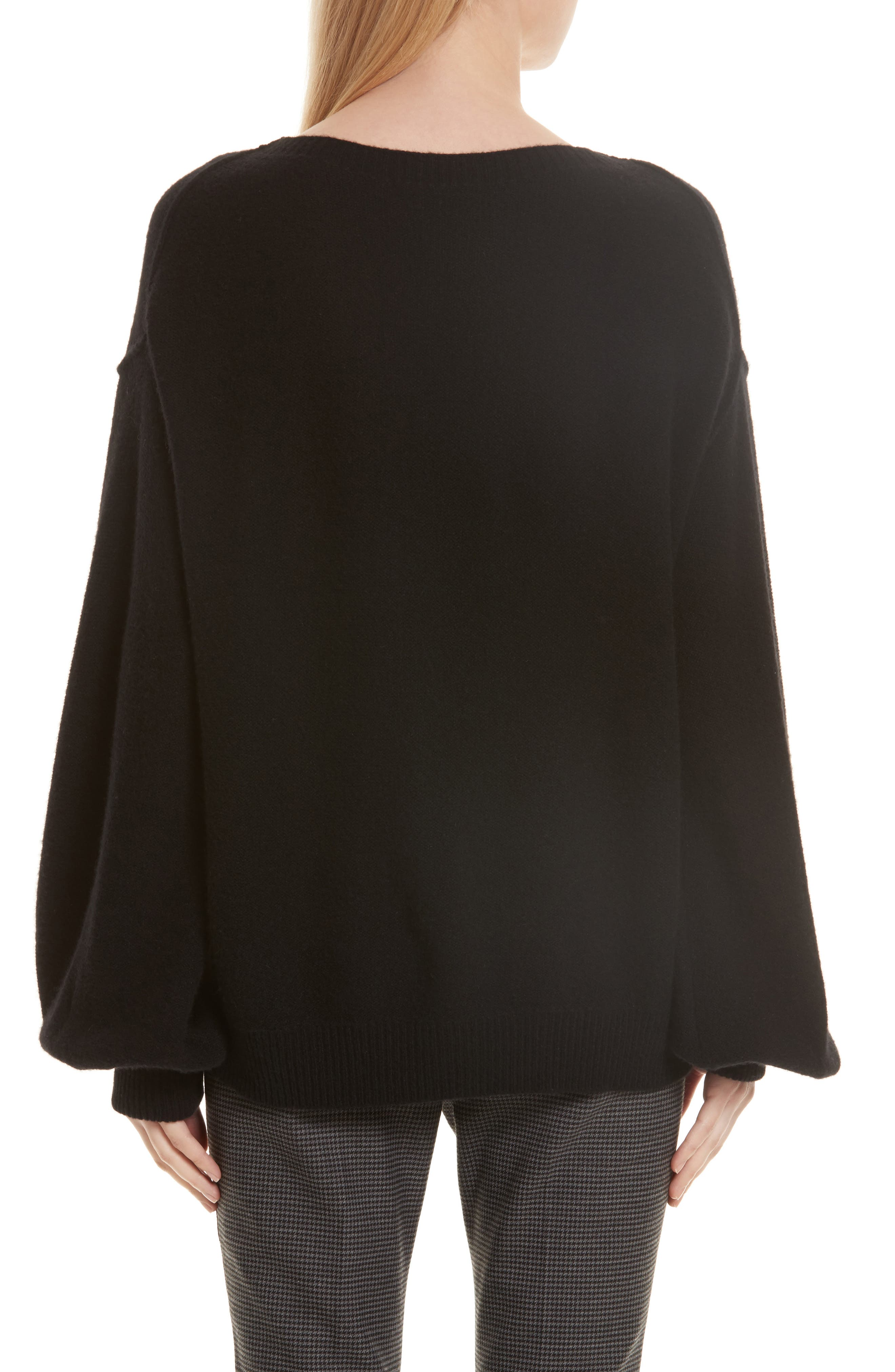 Balloon Sleeve Wool & Cashmere Sweater,                             Alternate thumbnail 3, color,                             Black