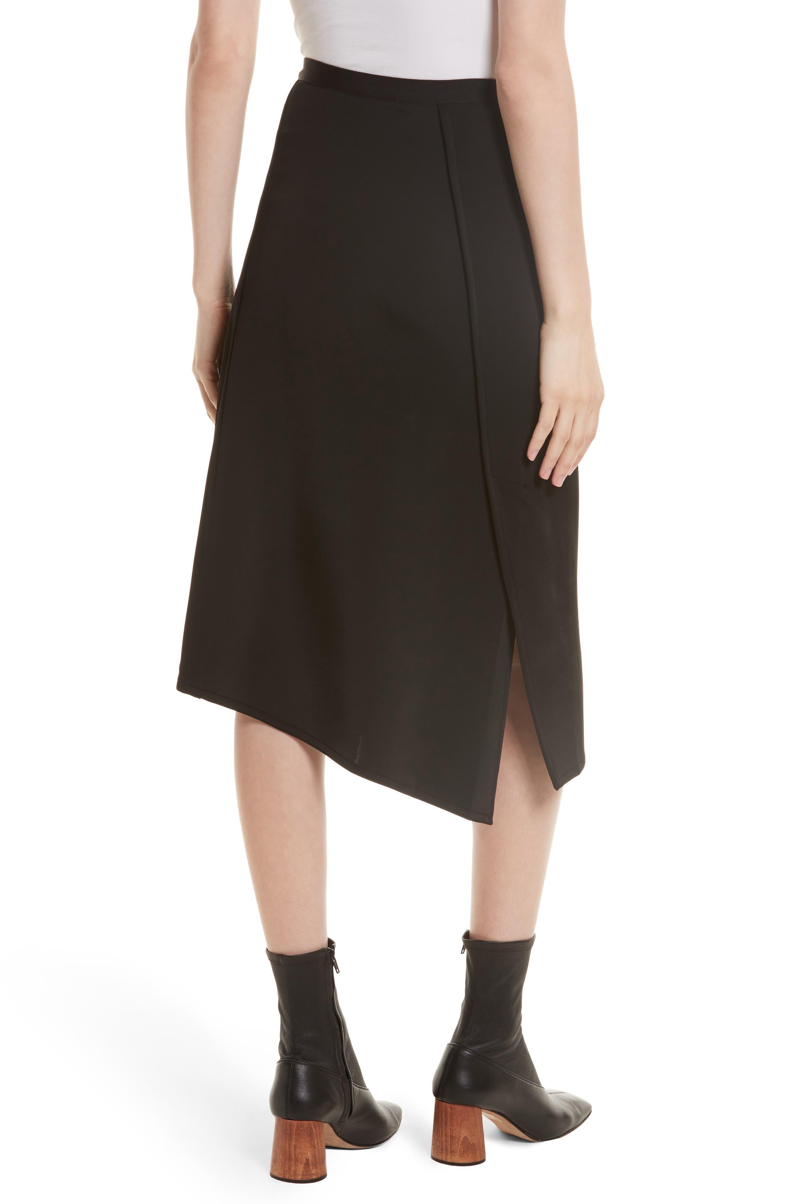 Bondage Jersey Asymmetrical Skirt,                             Alternate thumbnail 3, color,                             Black