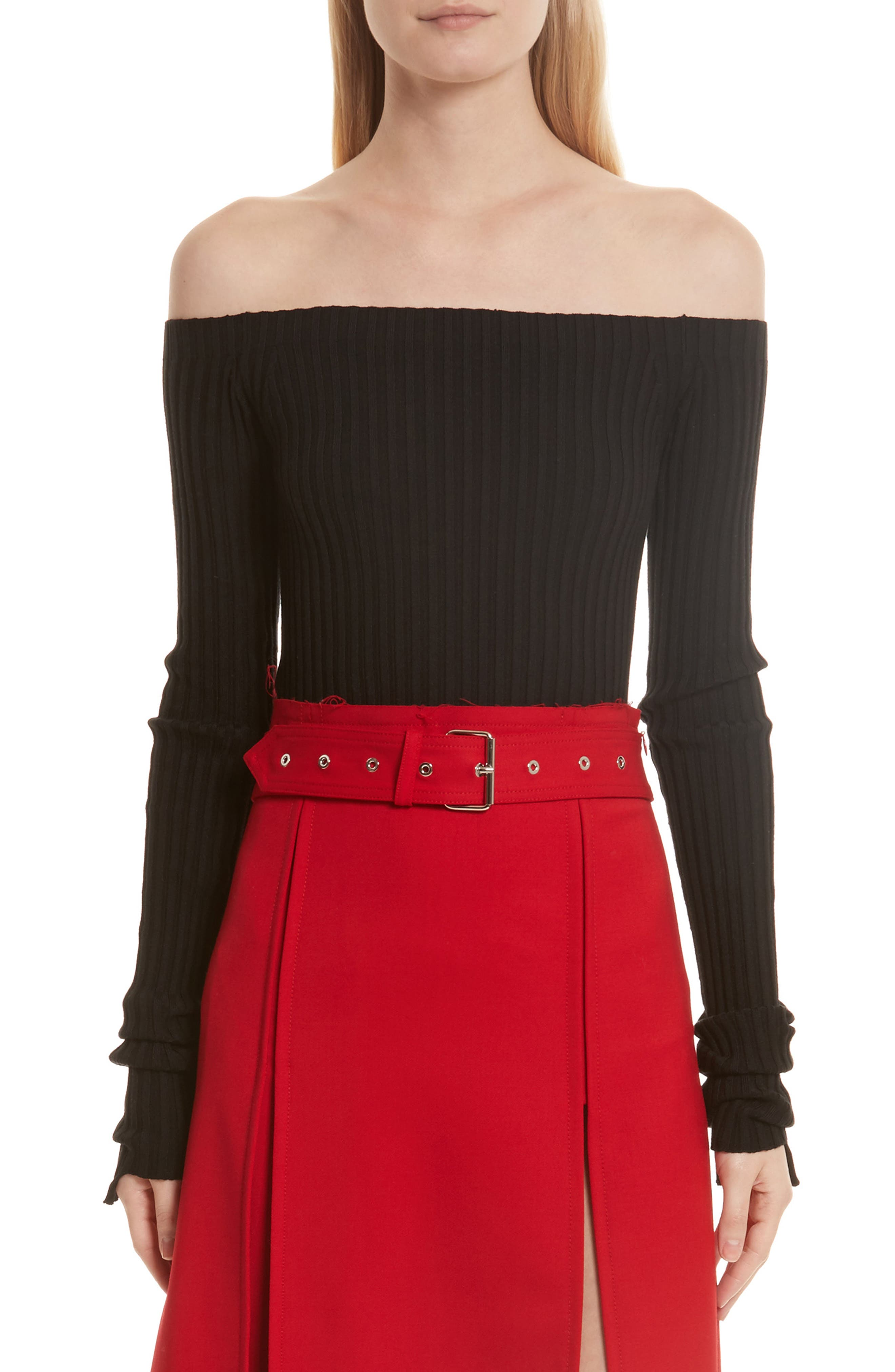 Knit Silk Off the Shoulder Sweater,                         Main,                         color, Black