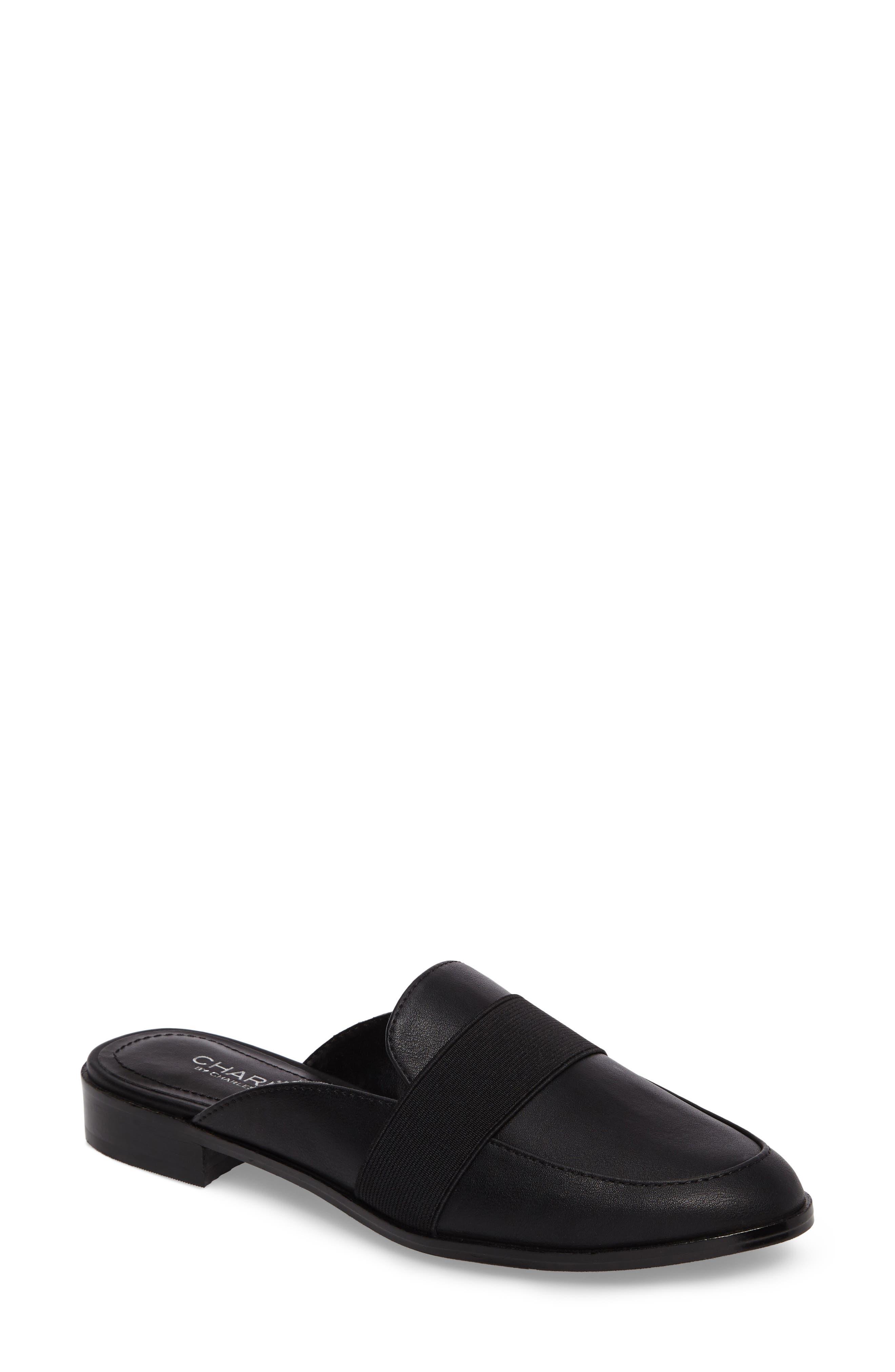 Georgi Loafer Mule,                         Main,                         color, Black Smooth