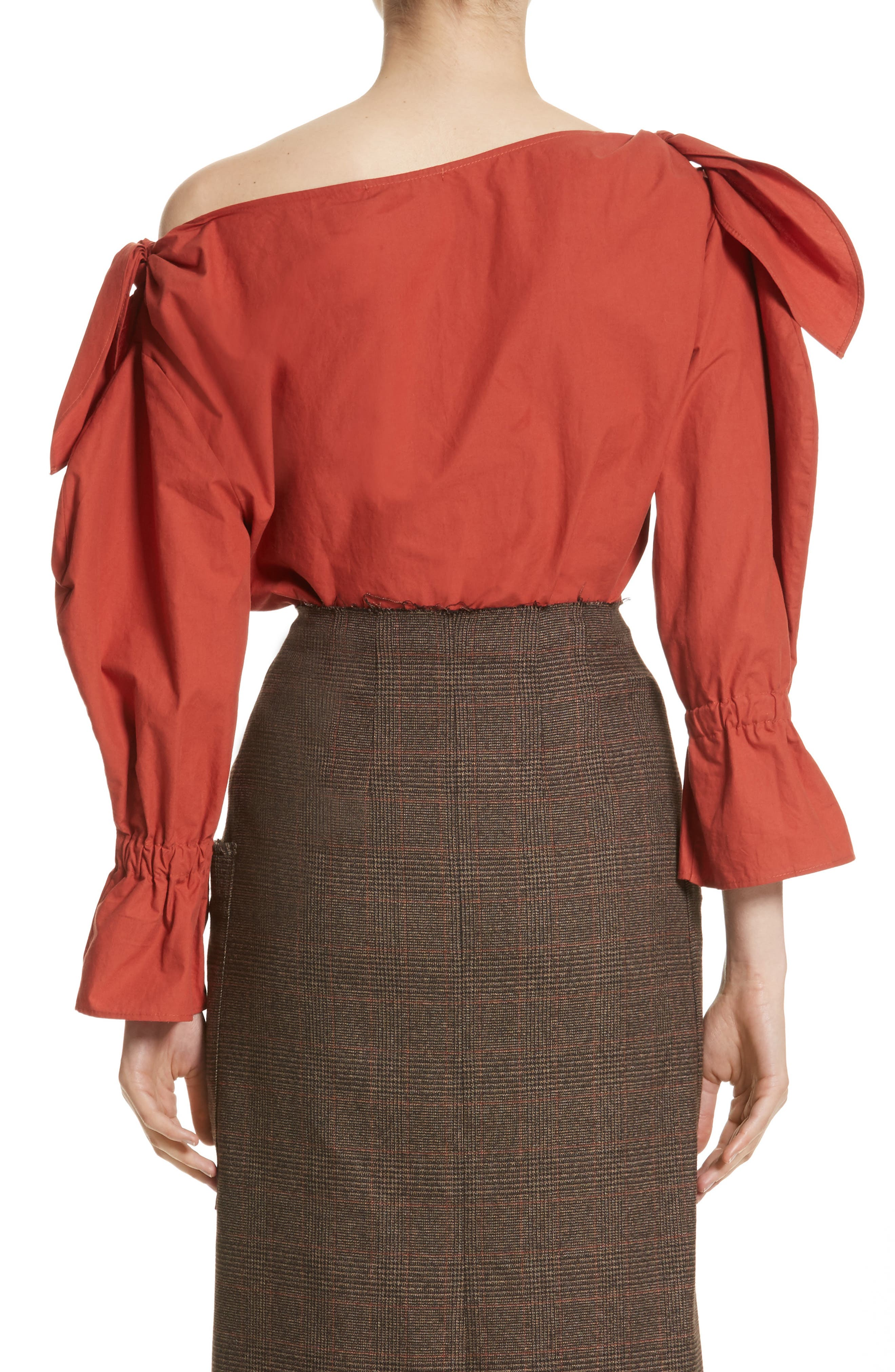 Michelle One-Shoulder Puff Sleeve Blouse,                             Alternate thumbnail 2, color,                             Rust
