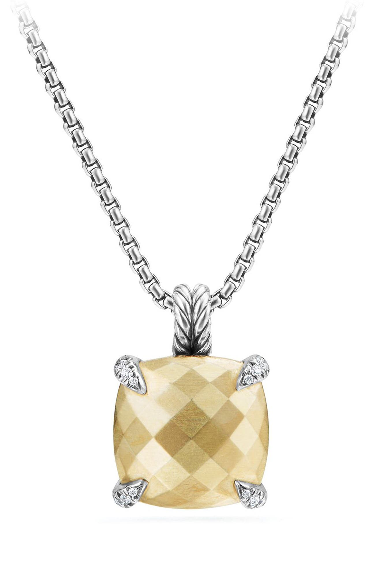 Châtelaine Pendant Necklace with Diamonds,                             Main thumbnail 1, color,                             Gold Dome