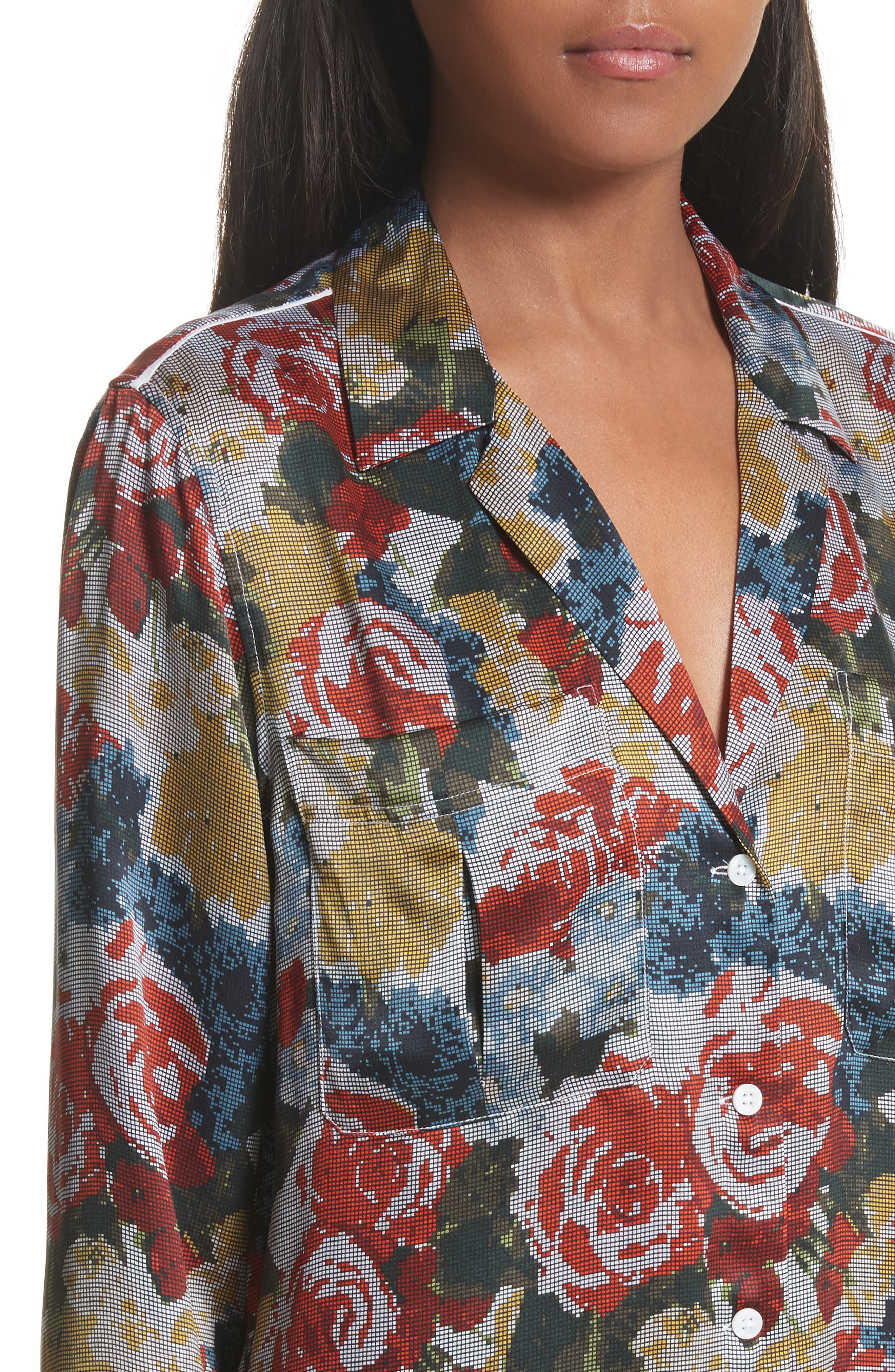 Alternate Image 4  - Equipment Sonny Floral Silk PJ Top