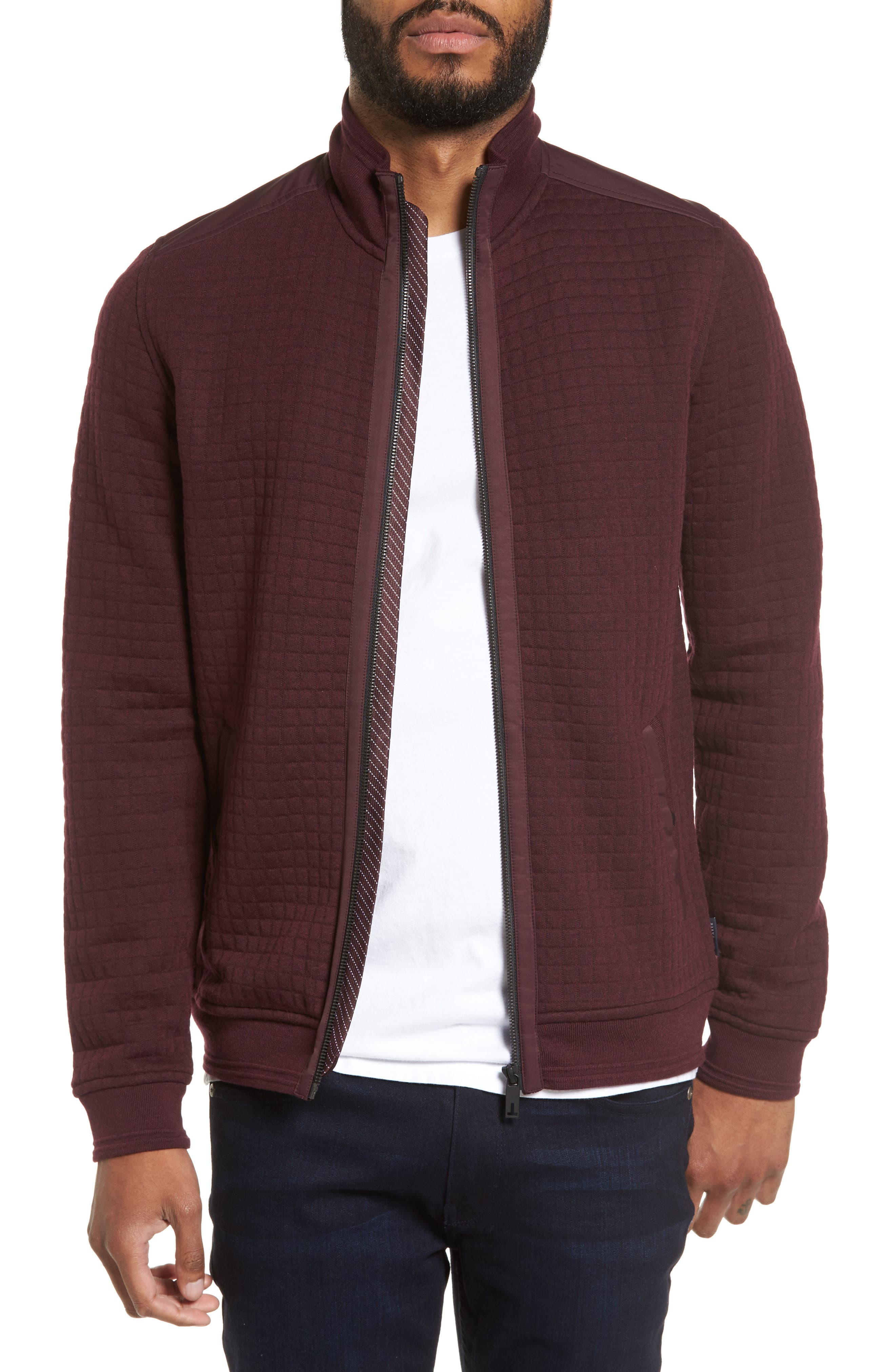 Ken Quilted Bomber Jacket,                             Main thumbnail 1, color,                             Dark Red