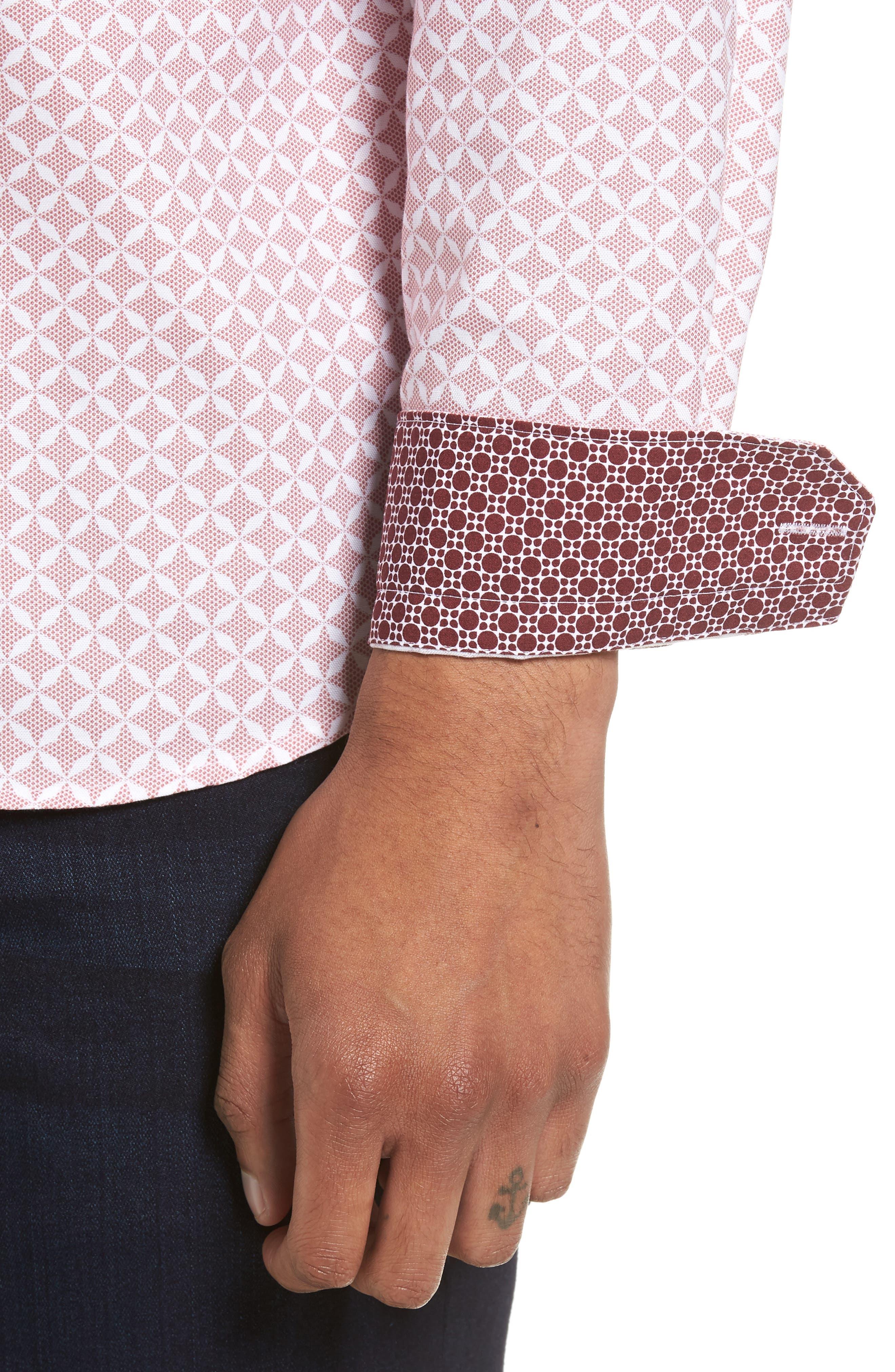 Langaz Dot Lattice Sport Shirt,                             Alternate thumbnail 4, color,                             Pink