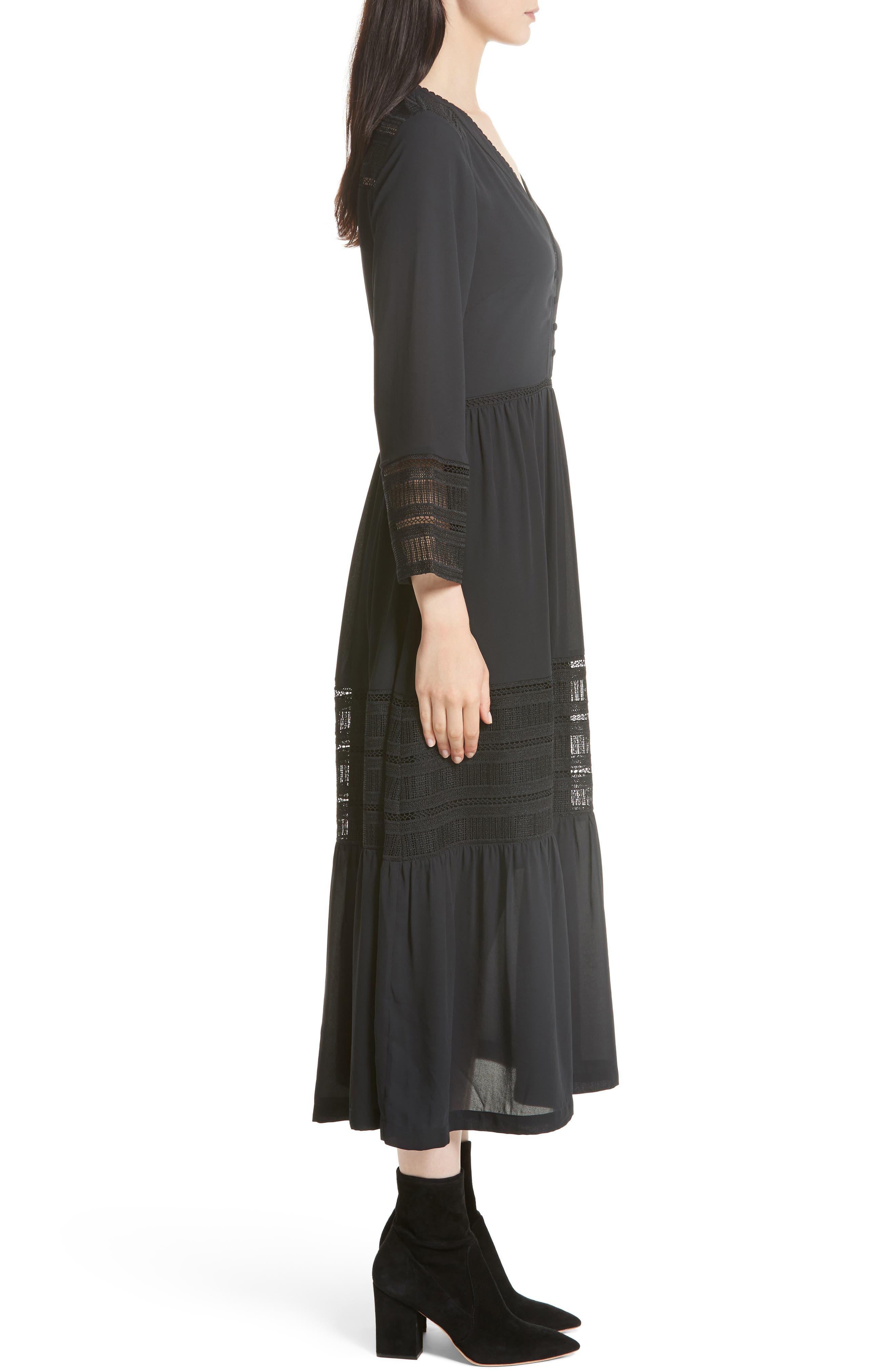Daphne A-Line Dress,                             Alternate thumbnail 3, color,                             Black