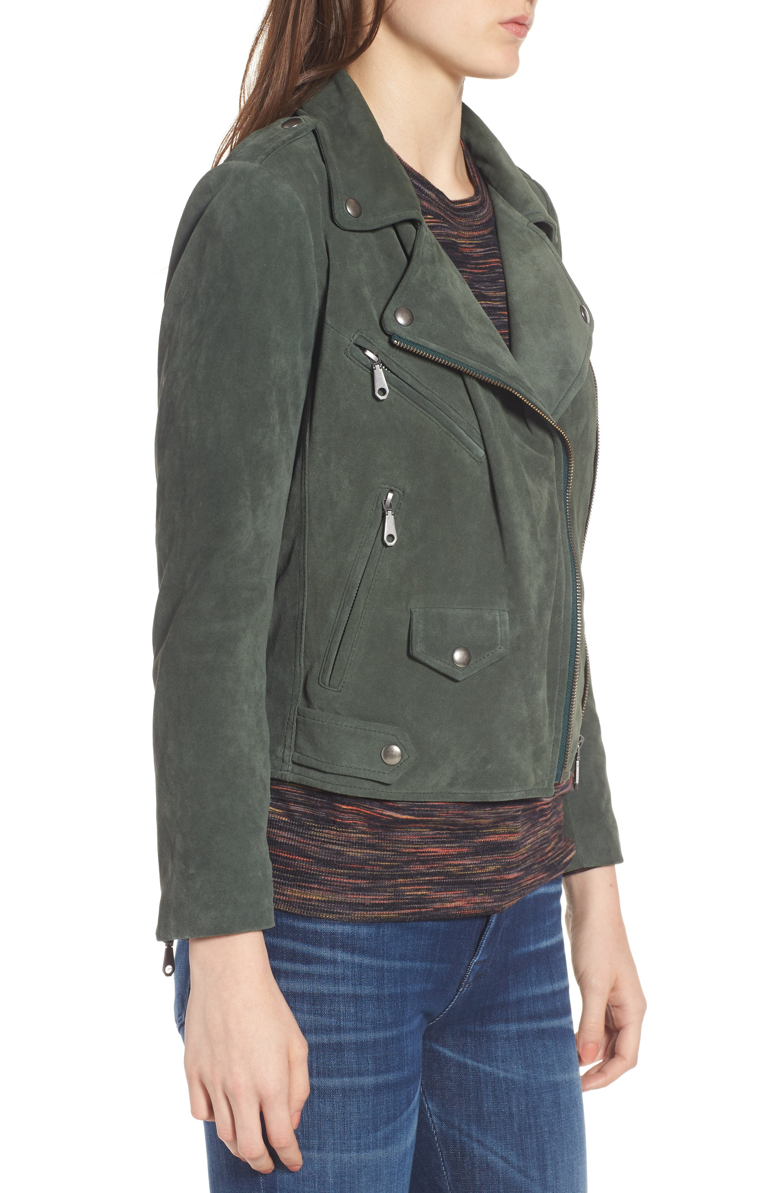 Wes Suede Moto Jacket,                             Alternate thumbnail 3, color,                             Dark Green