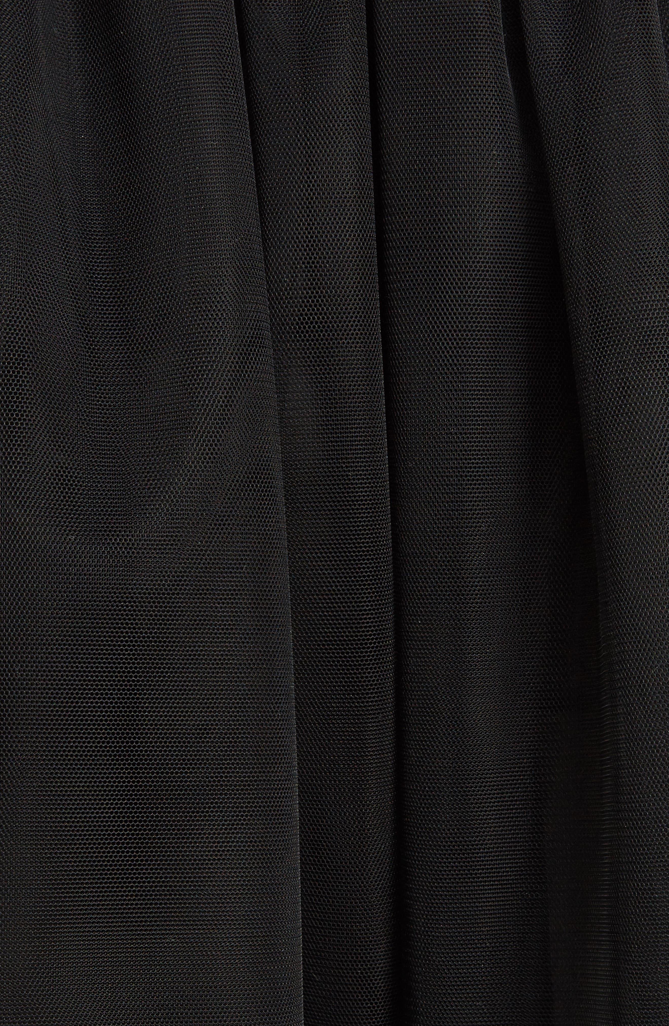 Marabou Trim Smock Waist Tulle Skirt,                             Alternate thumbnail 3, color,                             Black