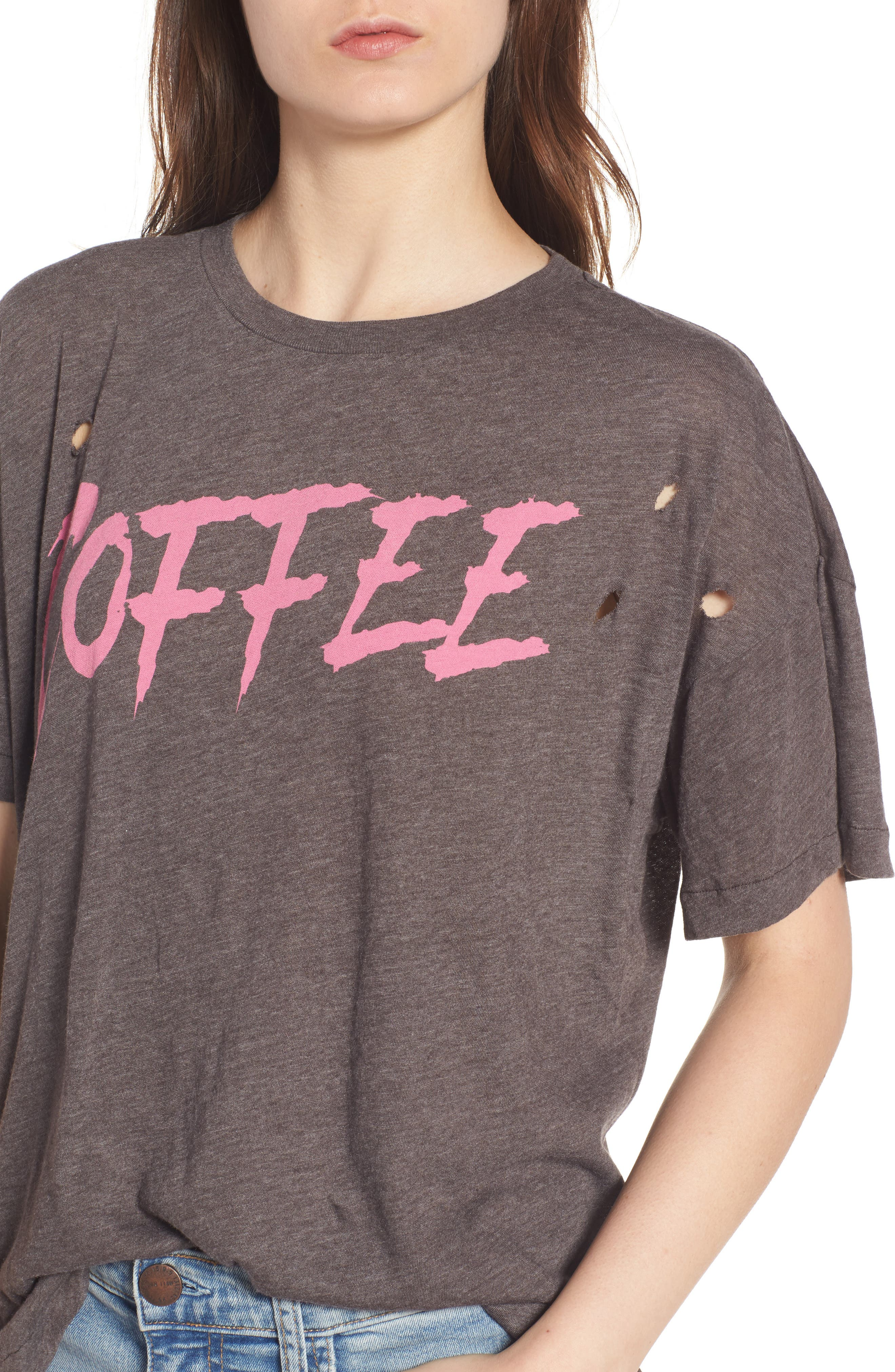 Coffee Destroyed Tee,                             Alternate thumbnail 4, color,                             Carbon Brown