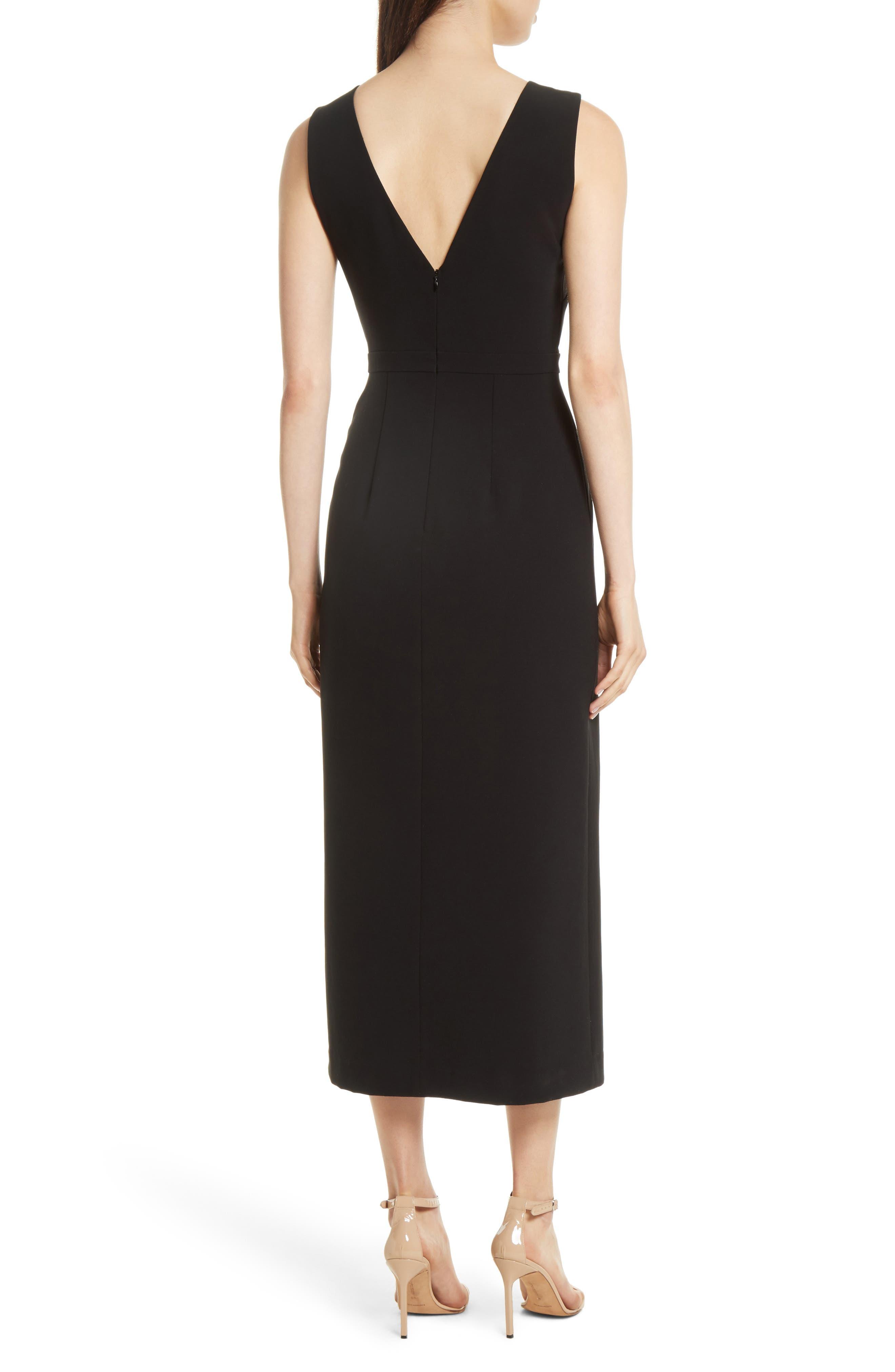 Ruffle Button Midi Dress,                             Alternate thumbnail 2, color,                             Black