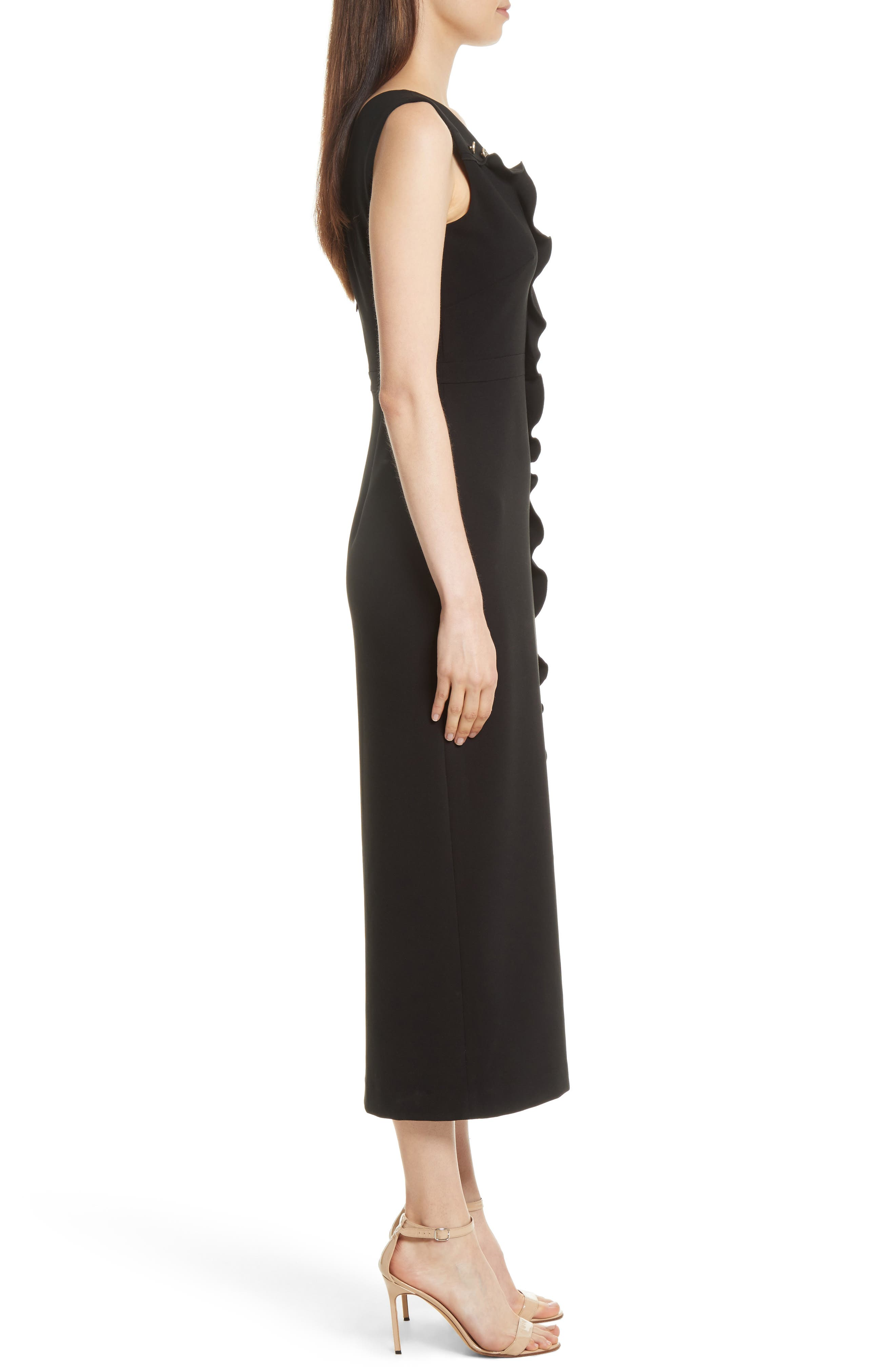 Ruffle Button Midi Dress,                             Alternate thumbnail 3, color,                             Black
