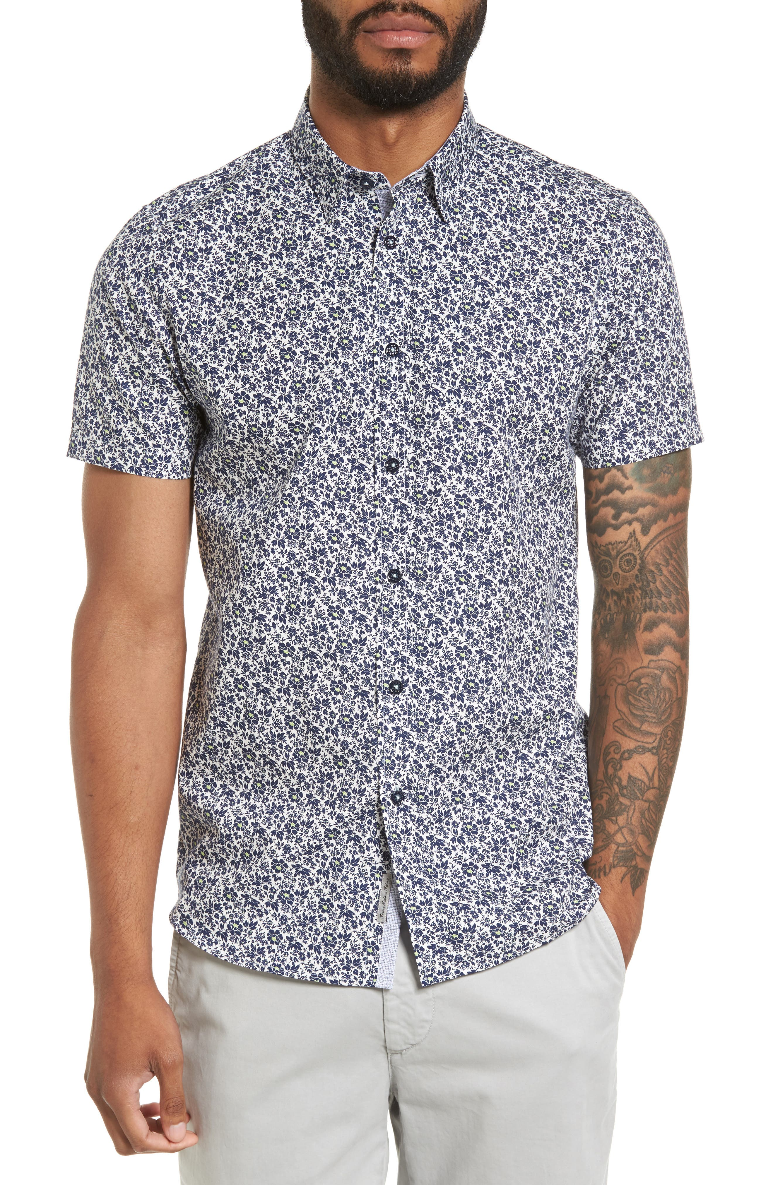 Alygar Slim Fit Floral Woven Shirt,                             Main thumbnail 1, color,                             Dark Blue