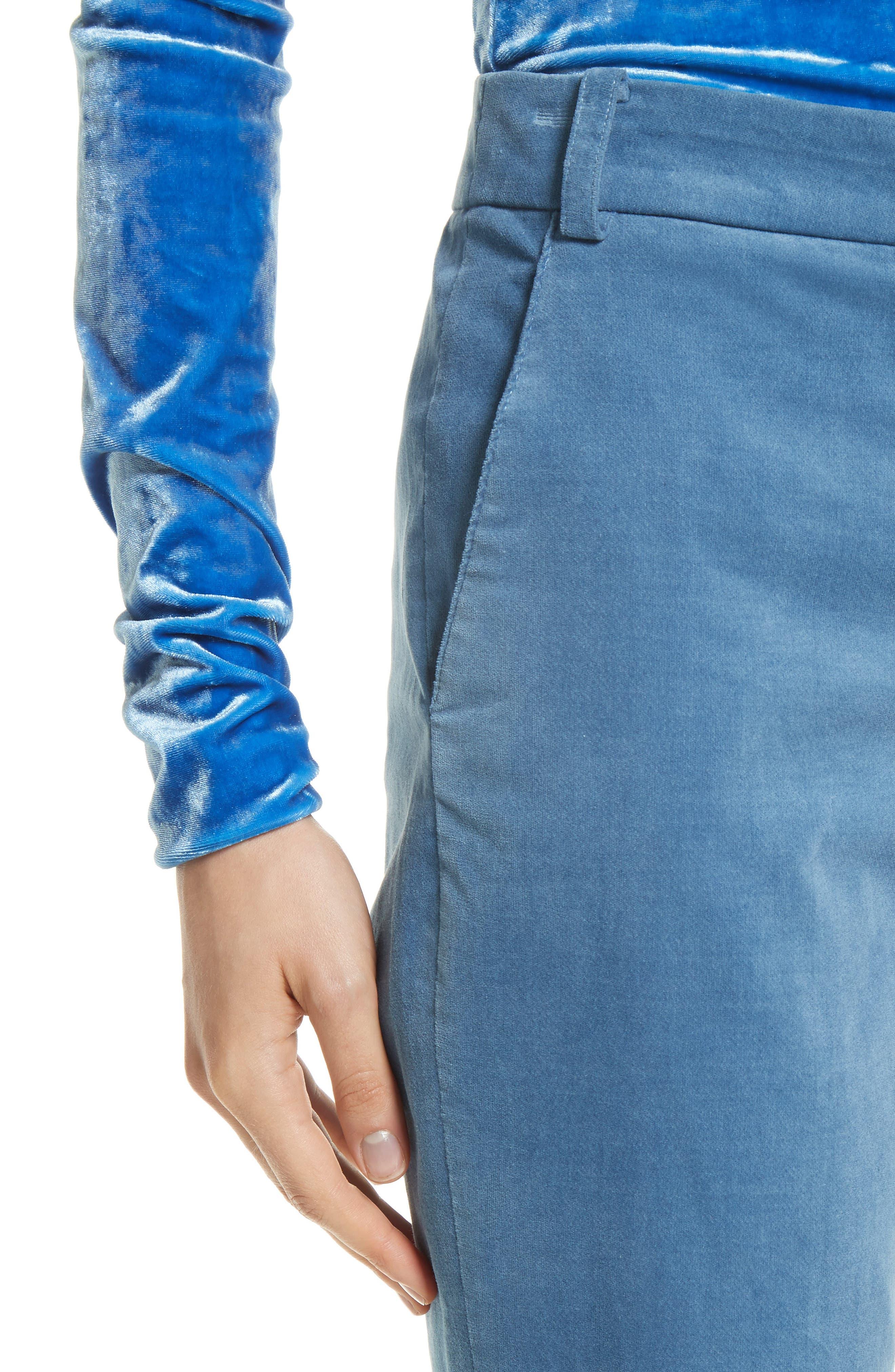 Moleskin Stretch Cotton Skinny Pants,                             Alternate thumbnail 5, color,                             Blue
