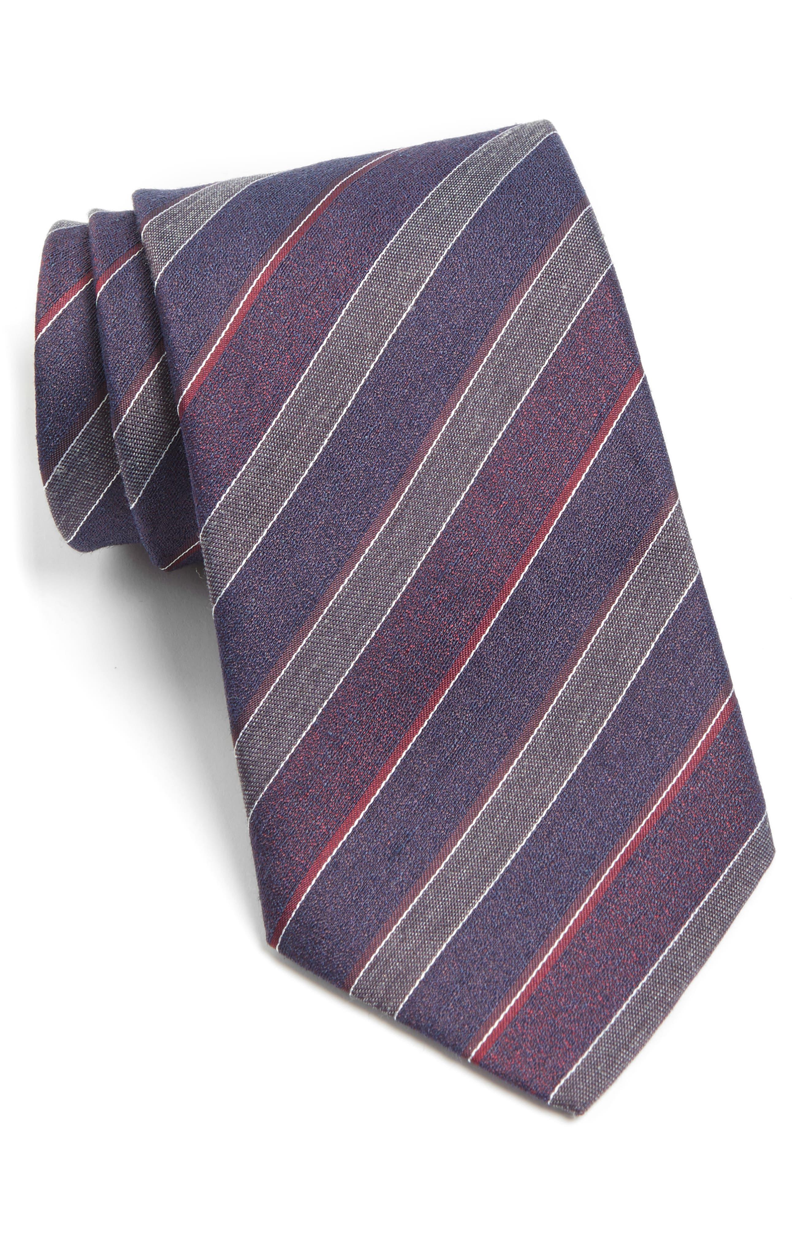 Stripe Silk Blend Tie,                             Main thumbnail 1, color,                             Cranberry