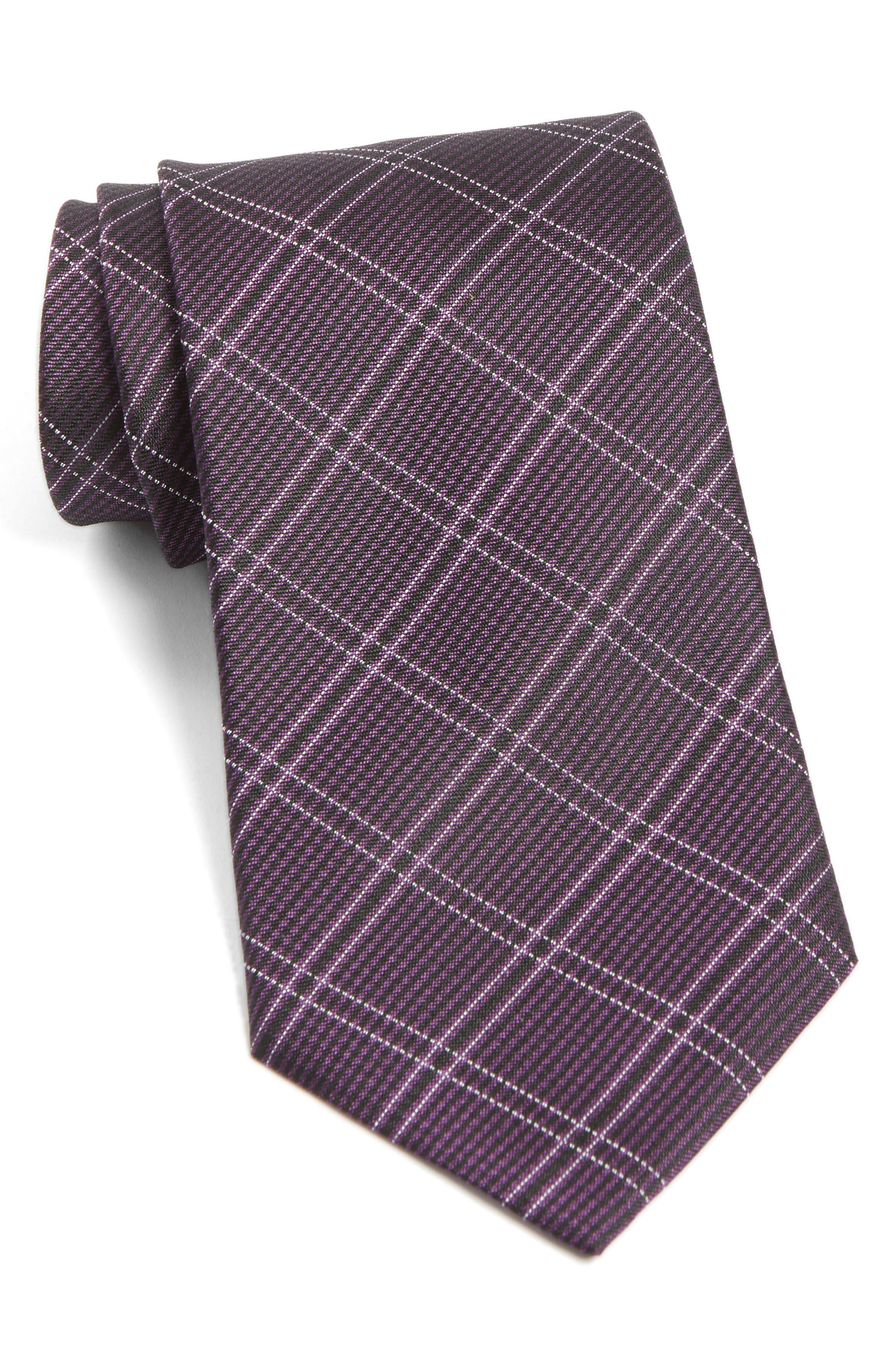Plaid Silk Tie,                         Main,                         color, Violet
