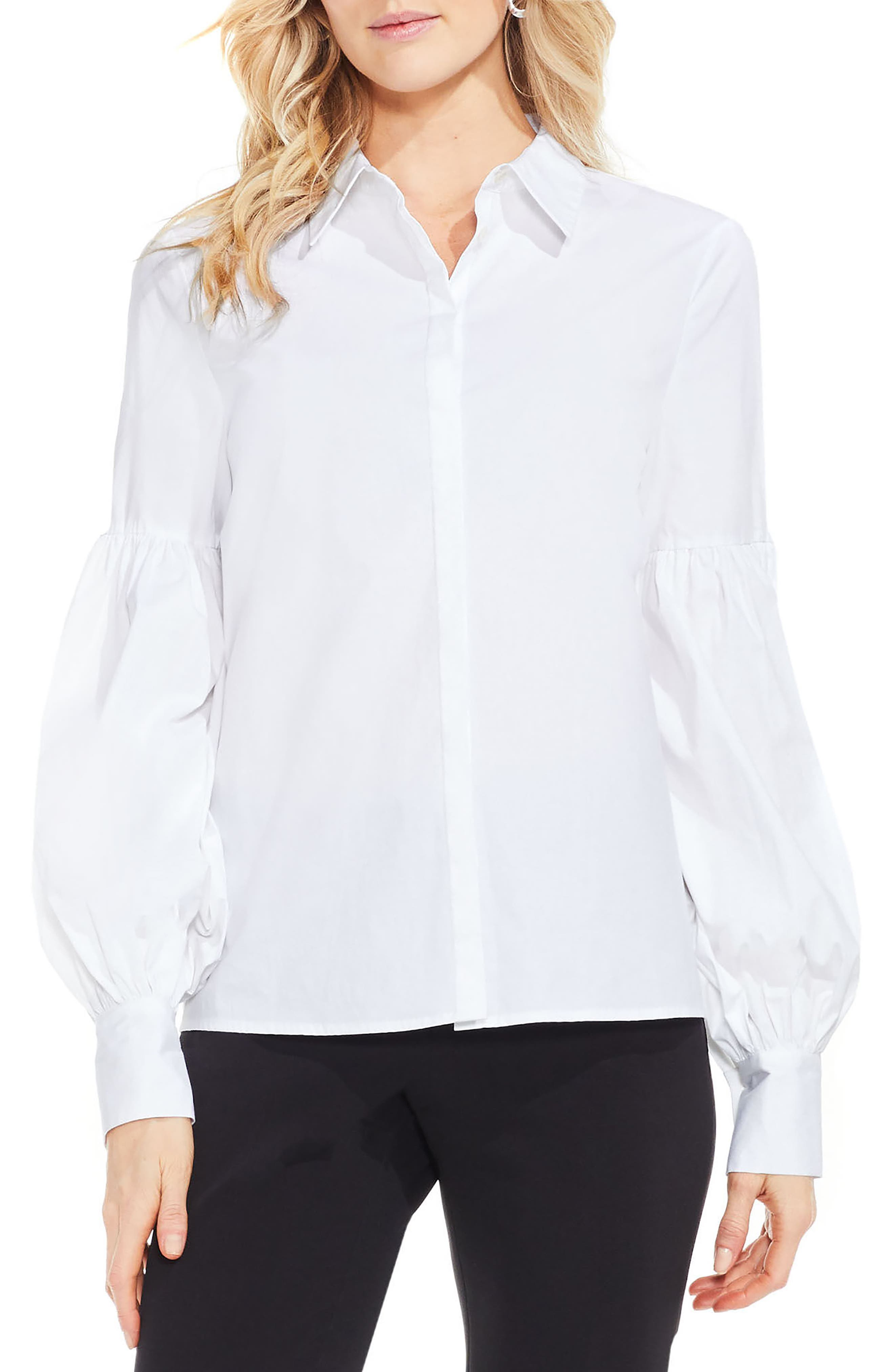 Puff Sleeve Shirt,                         Main,                         color, Ultra White