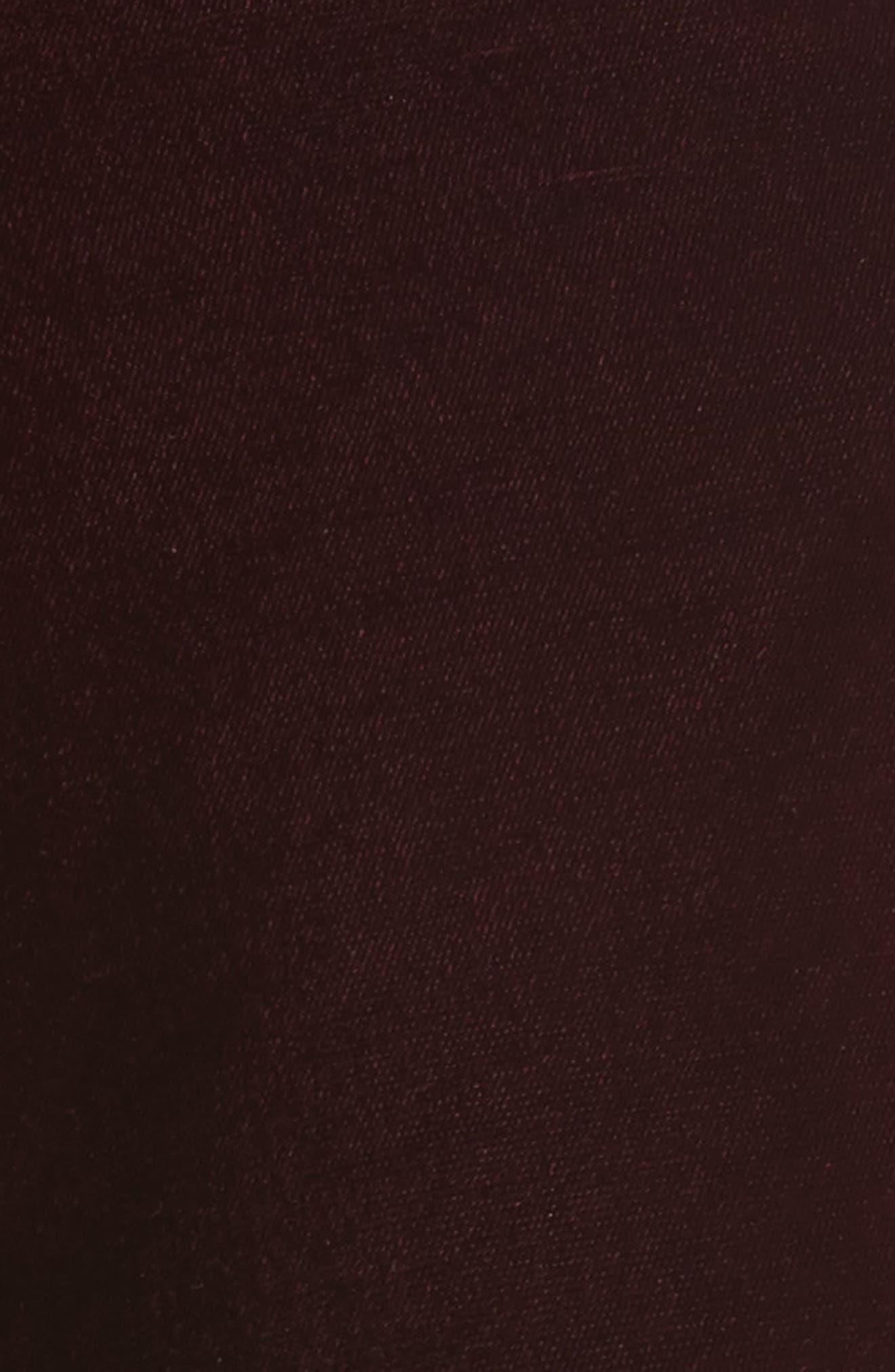 Bonded Velvet Crop Pants,                             Alternate thumbnail 6, color,                             Burgundy