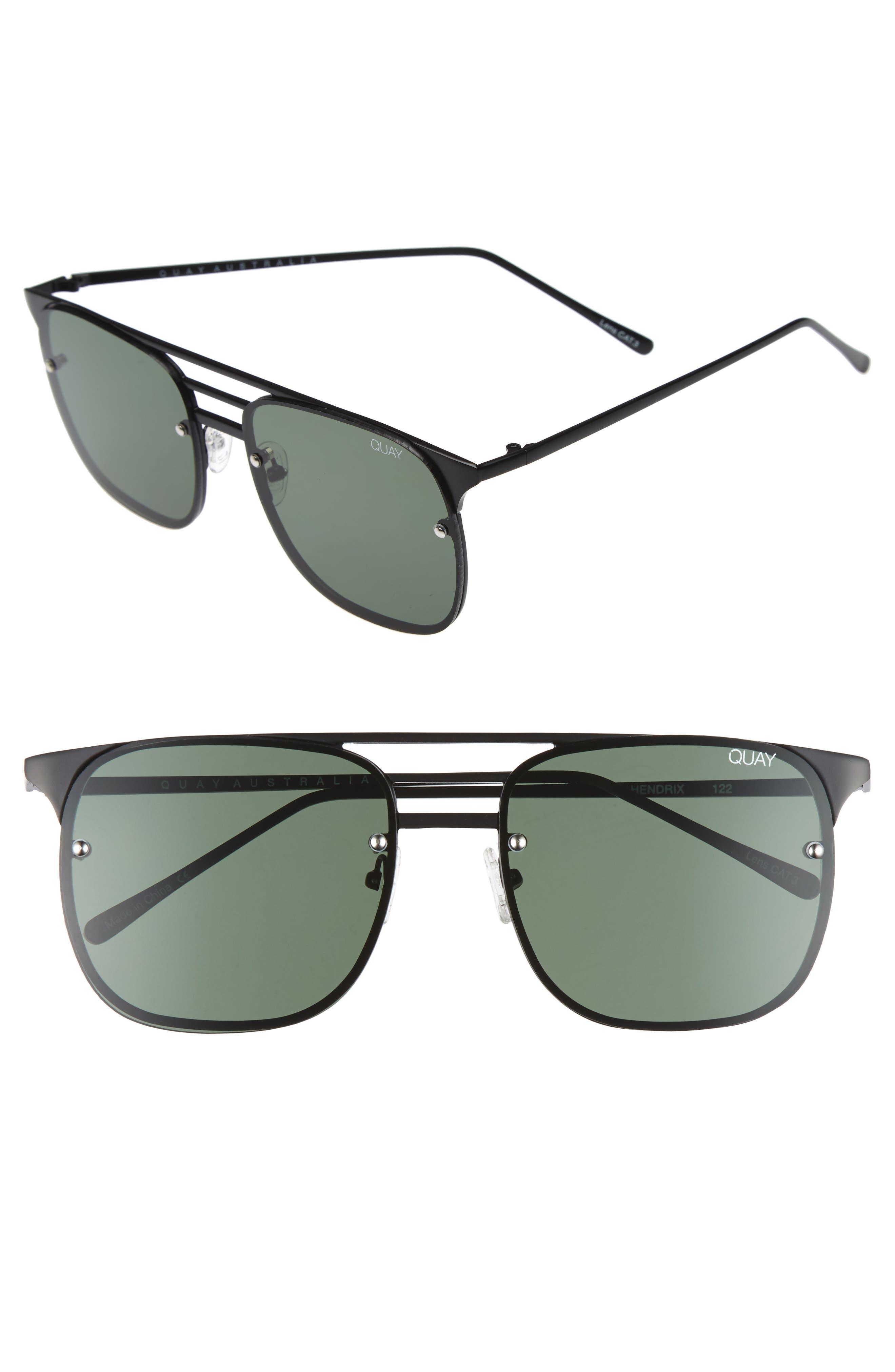 Hendrix 64mm Navigator Sunglasses,                         Main,                         color, Black/ Green