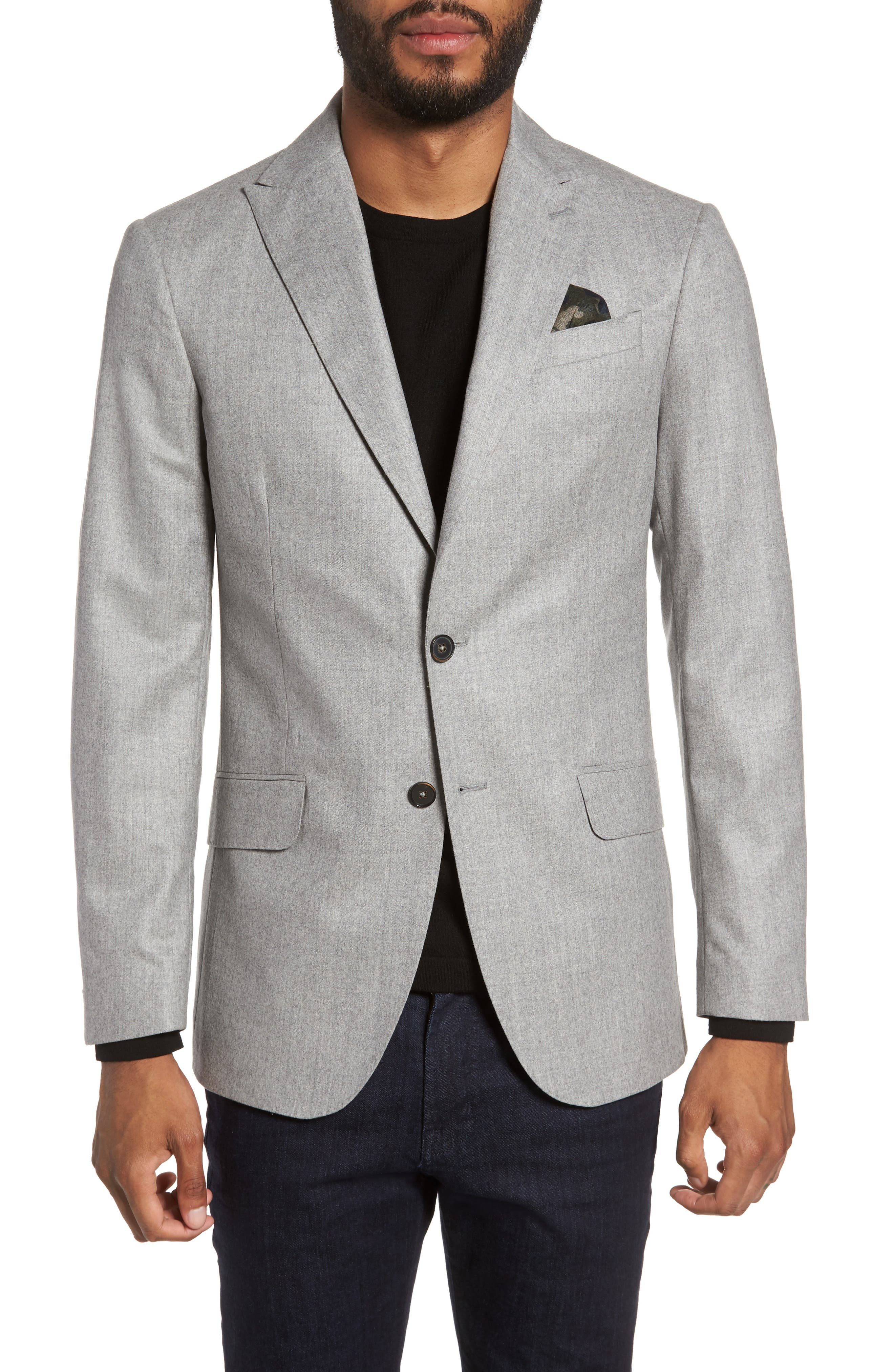 Betong Trim Fit Wool Blazer,                         Main,                         color, Silver Filigree