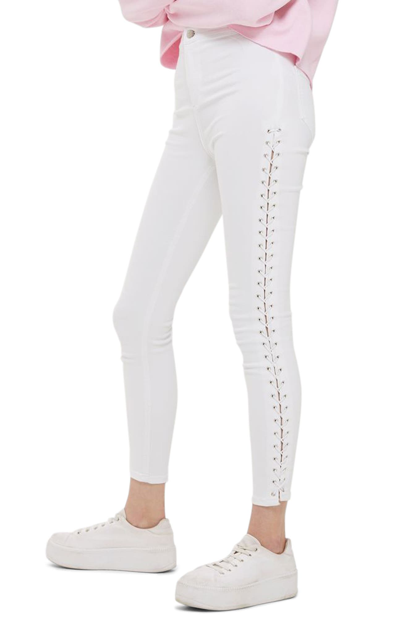 Topshop Joni Side Lace-Up Ankle Skinny Jeans (Regular & Petite)