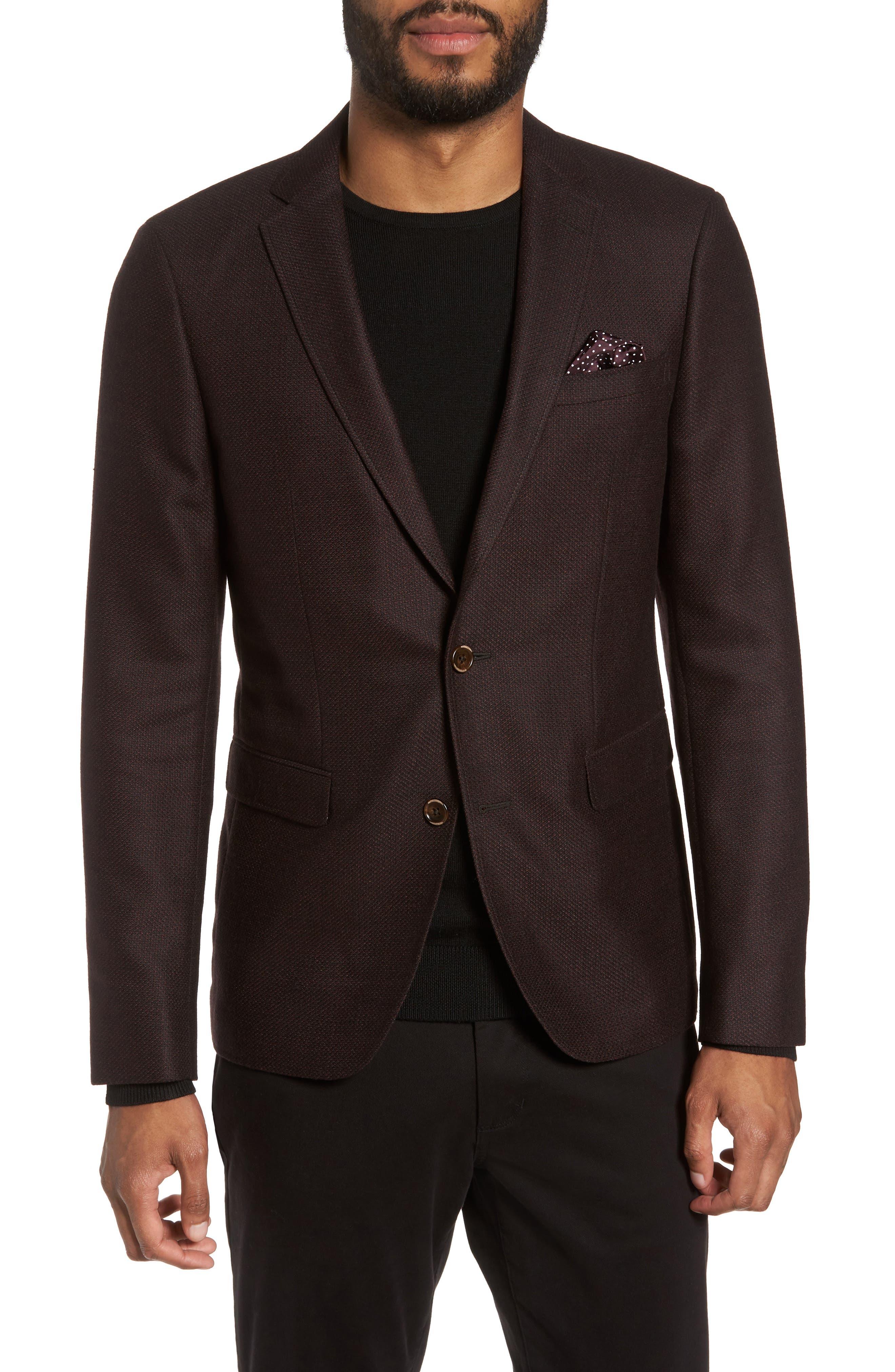 Trim Fit Wool Sport Coat,                         Main,                         color, Bordeaux