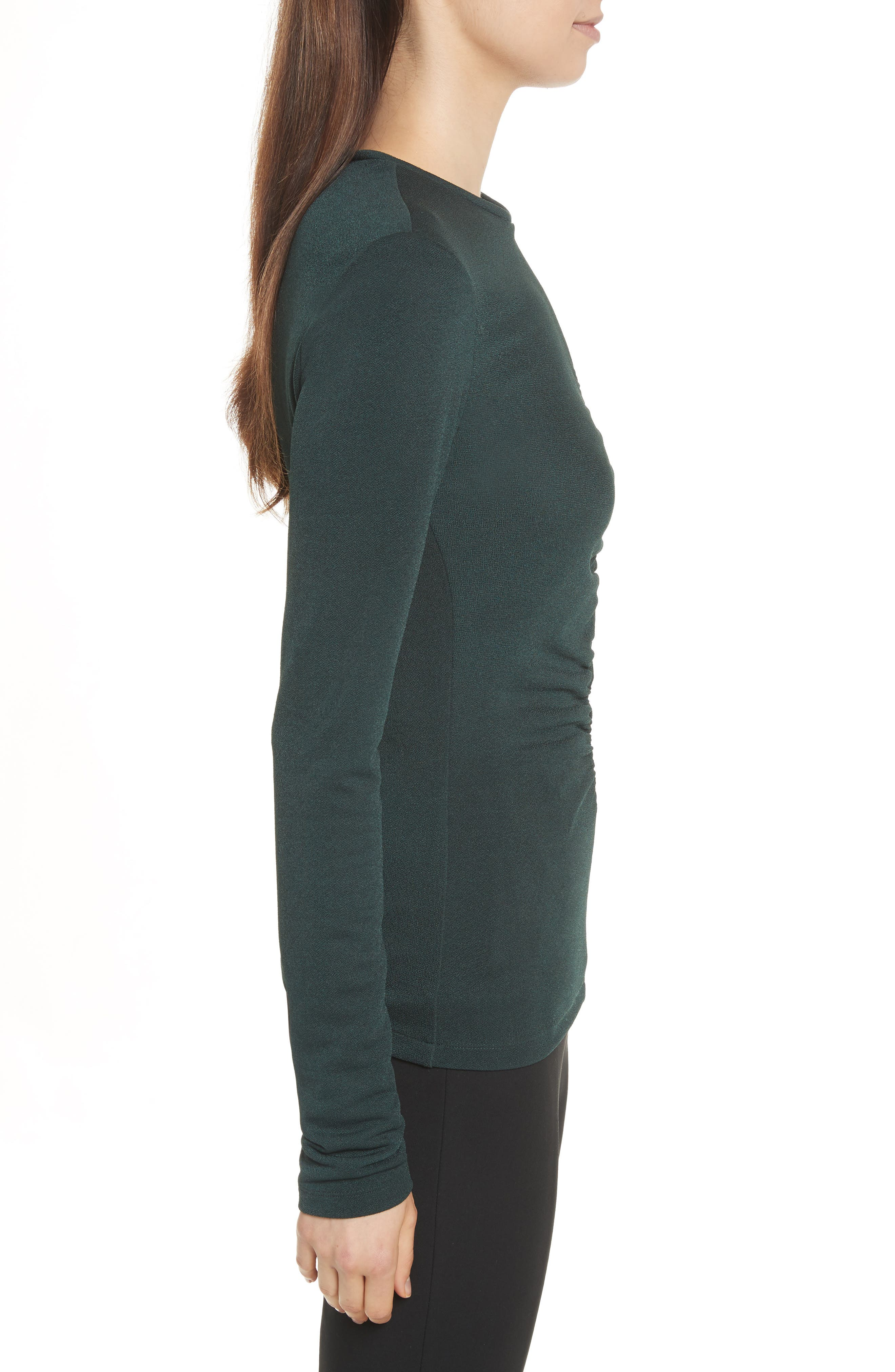 Ruched Crepe Knit Tee,                             Alternate thumbnail 3, color,                             Spruce
