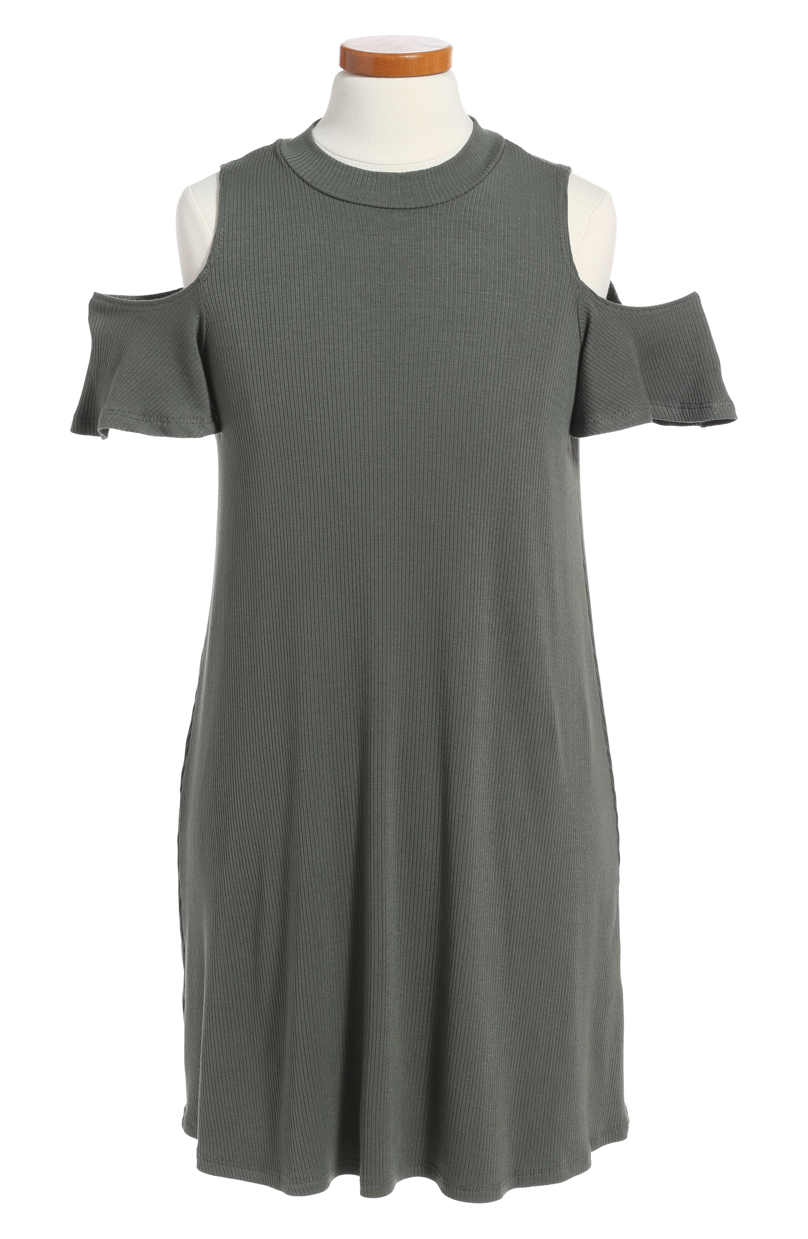 Soprano Cold Shoulder Mock Neck Dress (Big Girls)