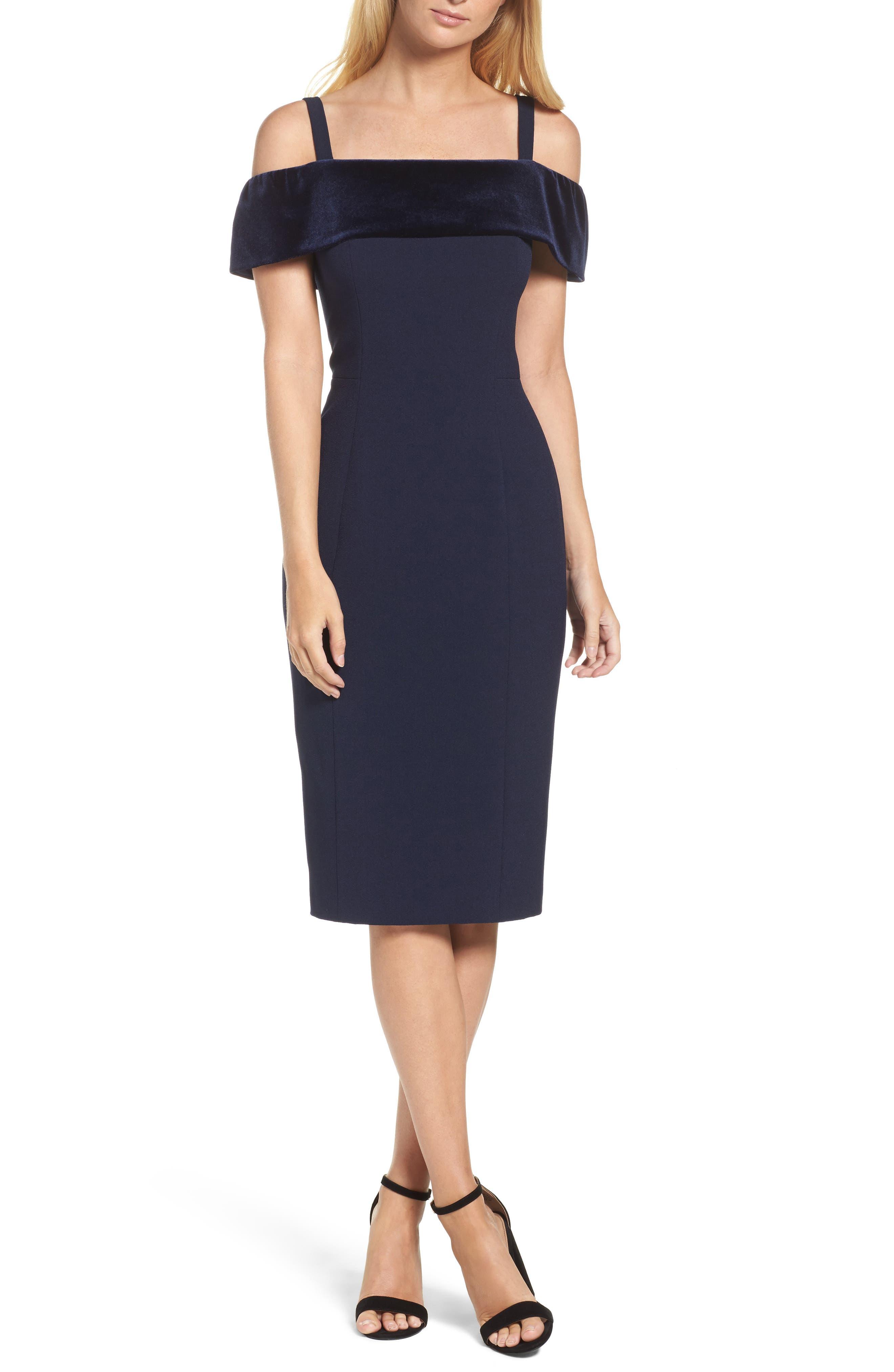 Off the Shoulder Sheath Dress,                         Main,                         color, Navy