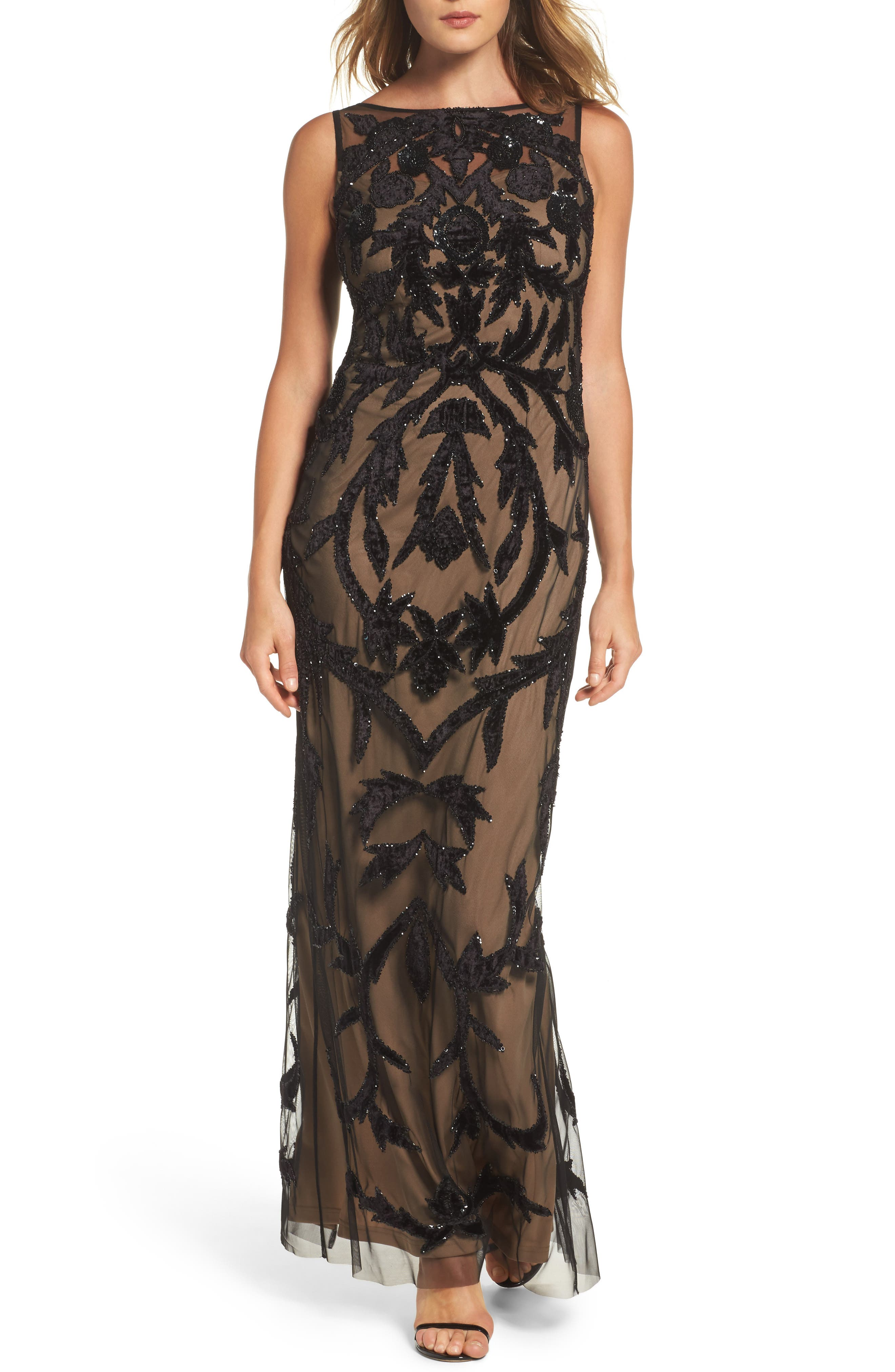 Beaded Mesh Gown,                         Main,                         color, Black Nude