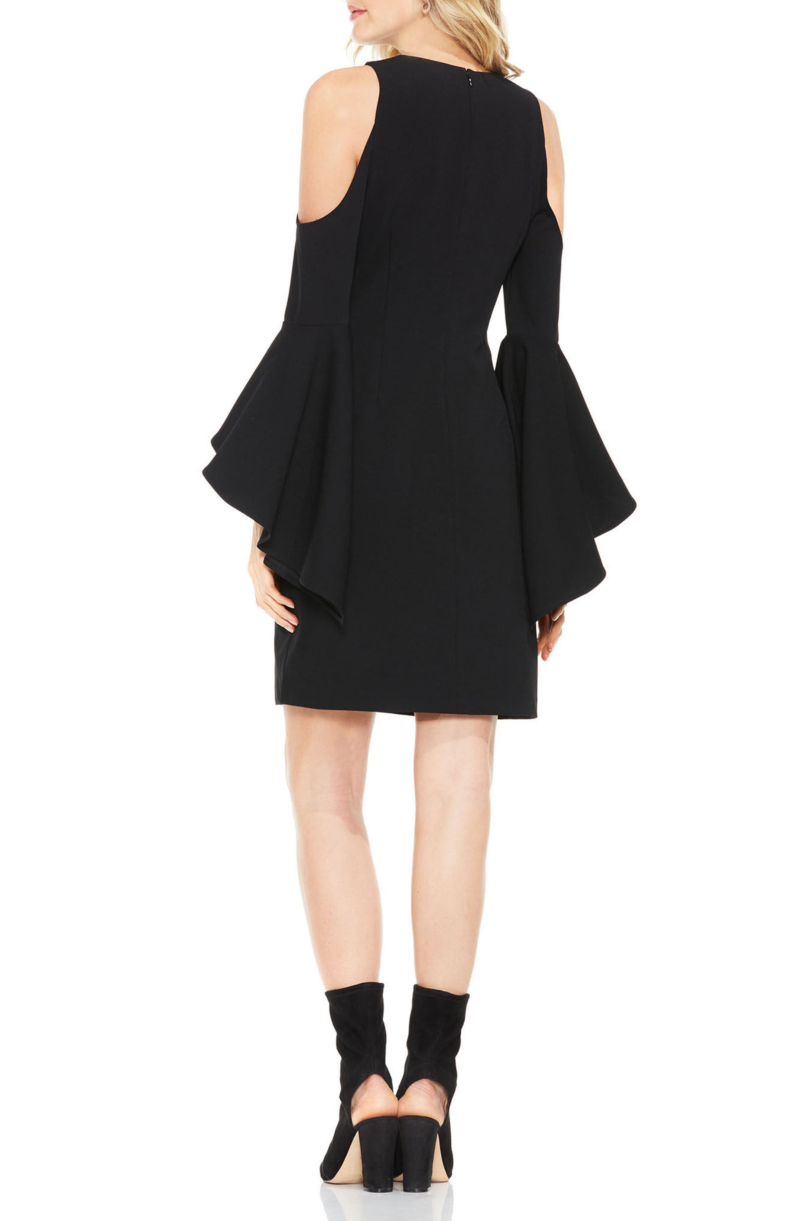 Cold Shoulder Shift Dress,                             Alternate thumbnail 3, color,                             Rich Black