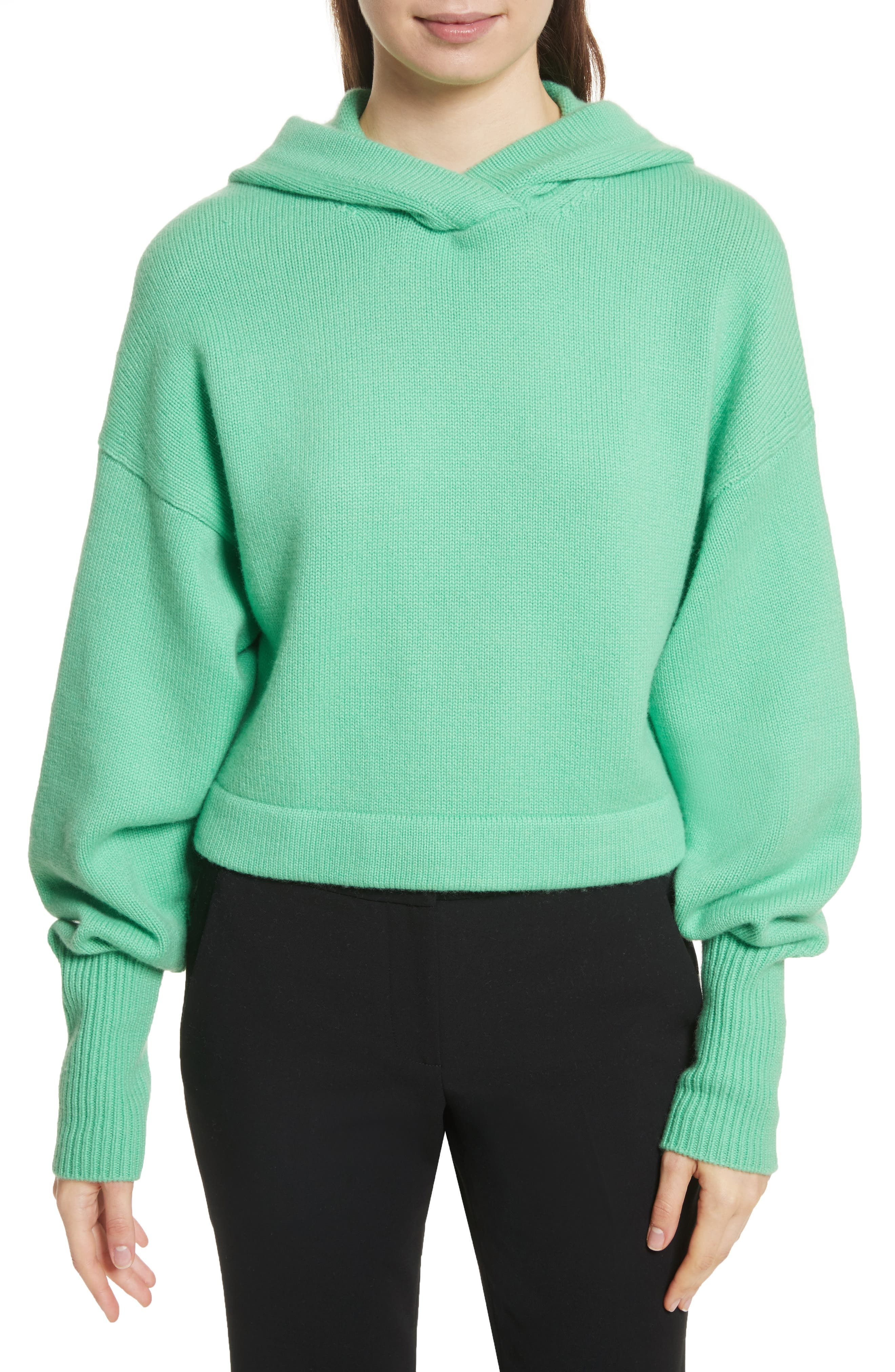 Blouson Sleeve Cashmere Hoodie,                         Main,                         color, Kelly Green