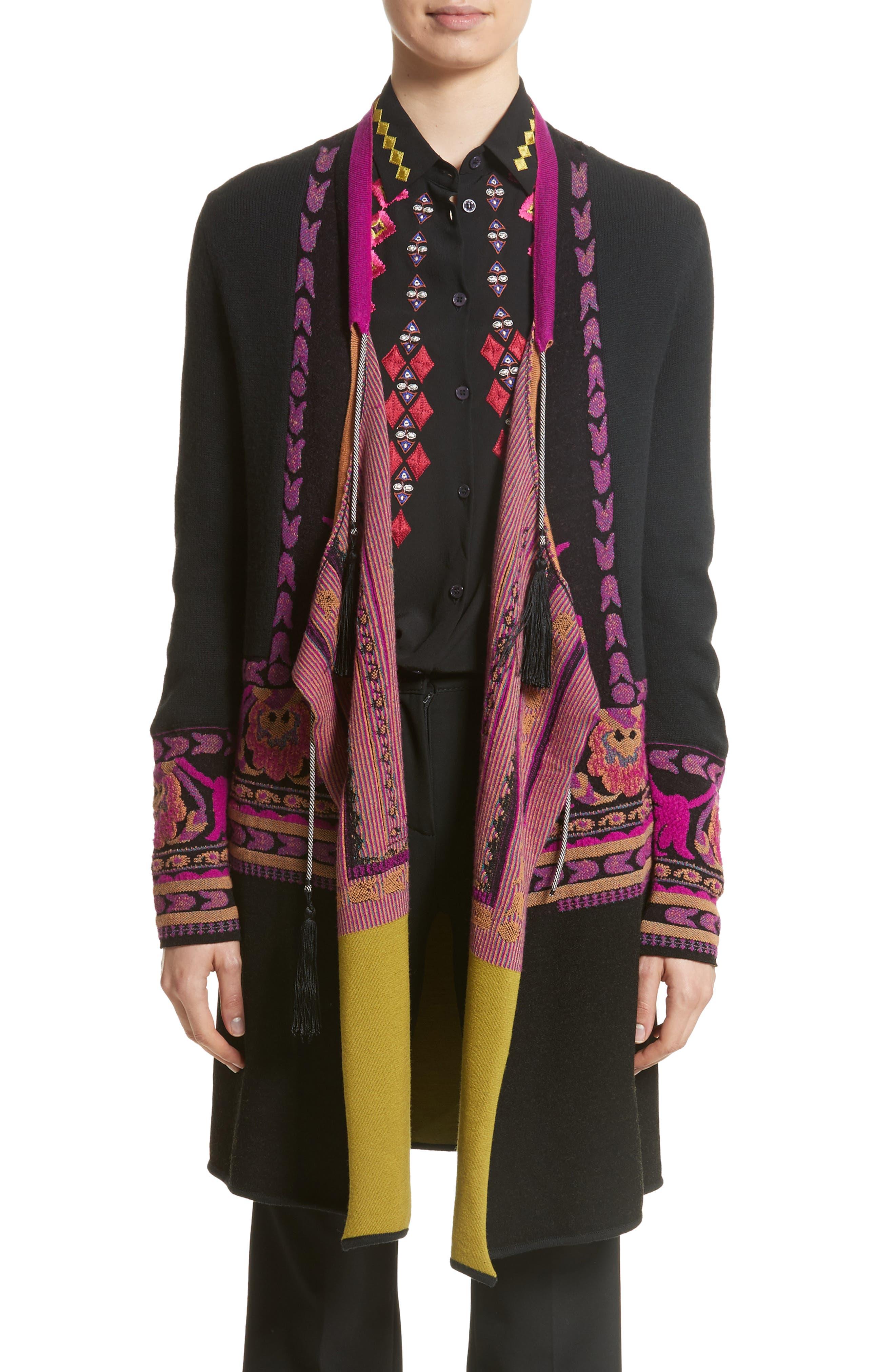 Tassel Wool Blend Cardigan,                         Main,                         color, Black