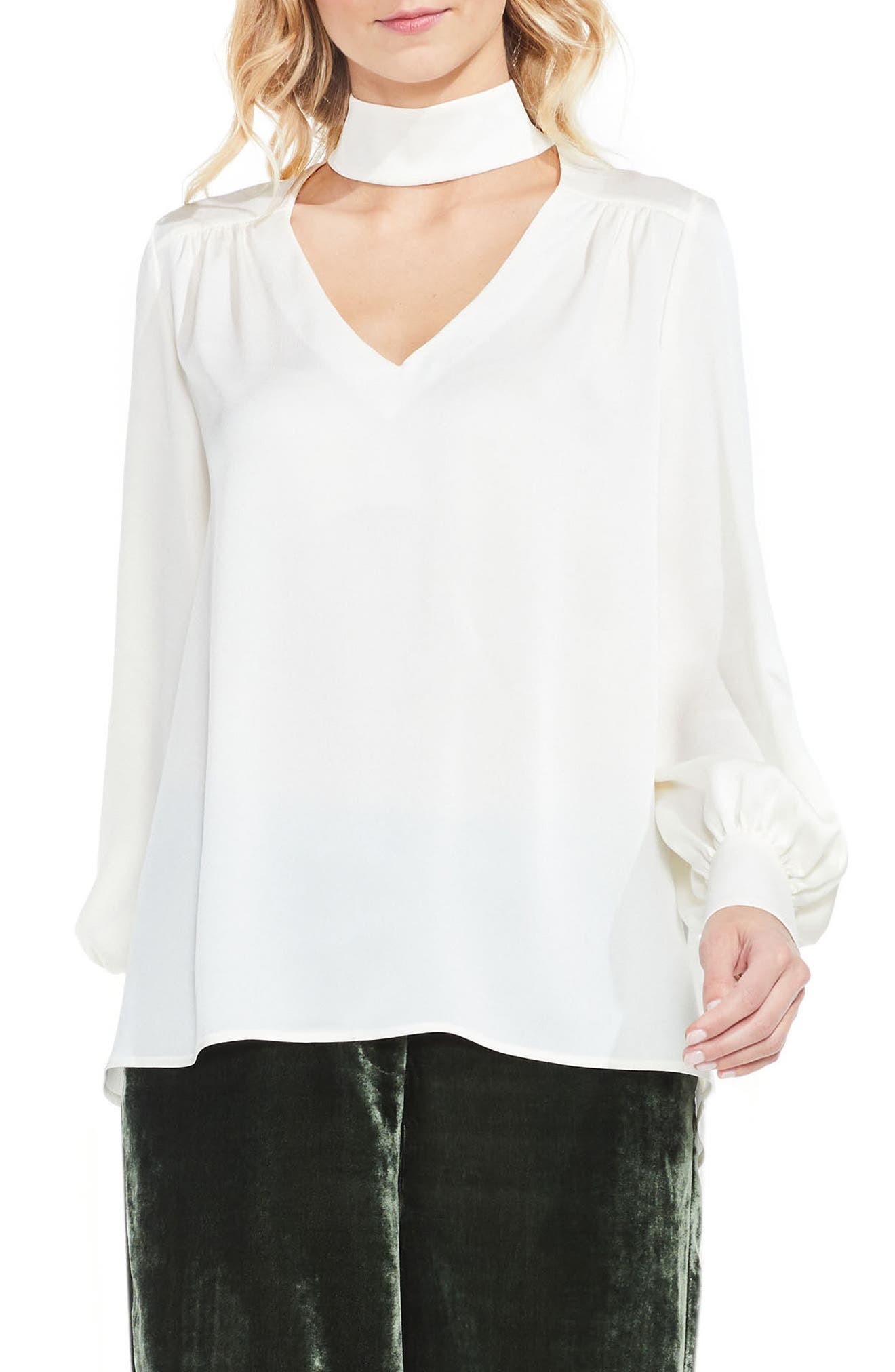 Vince Camuto Mock Choker Neck Blouse (Regular & Petite)