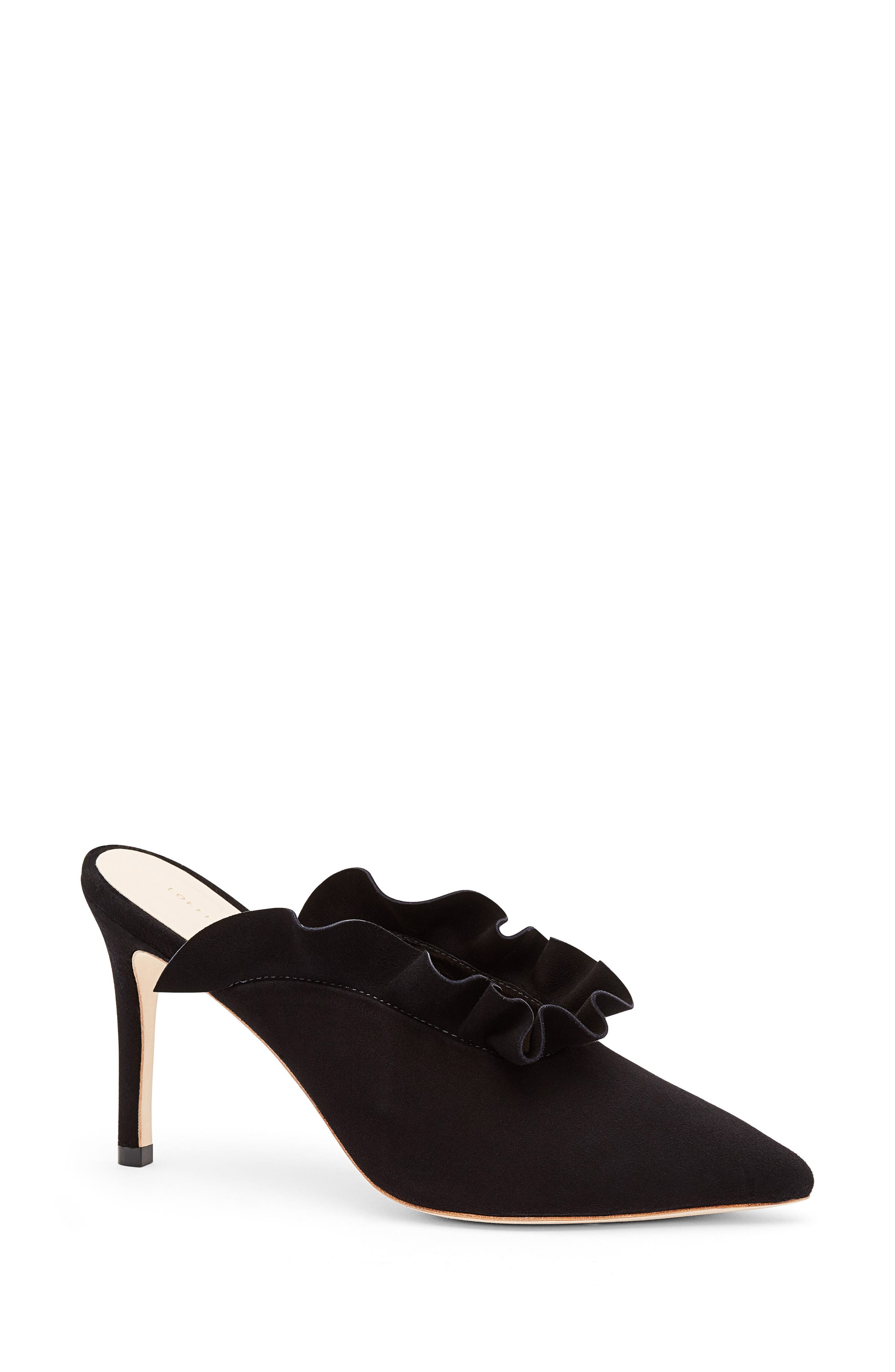 Langley Ruffle Pointy Toe Mule,                         Main,                         color, Black