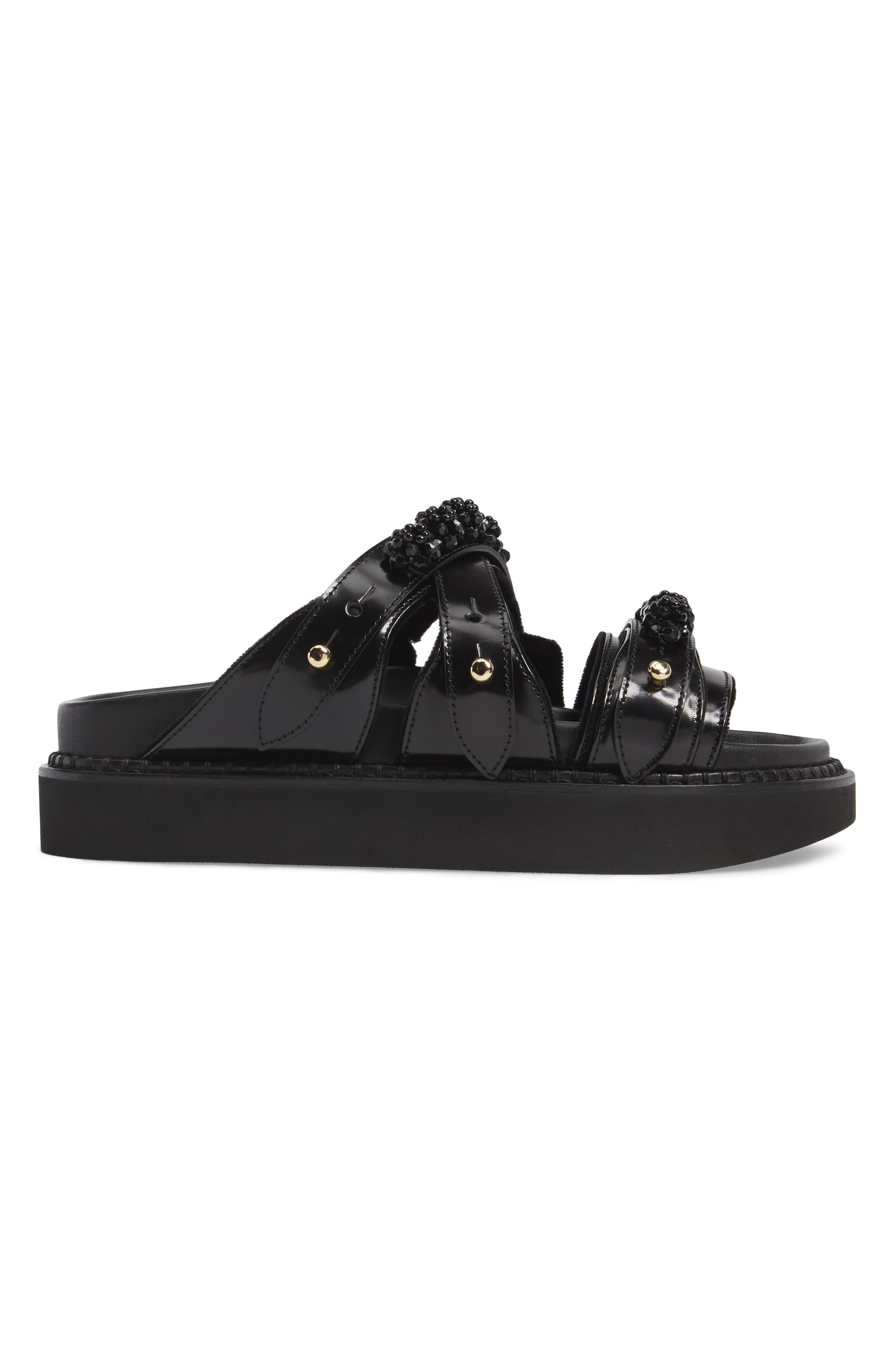 Beaded Leather Slide Sandal,                             Alternate thumbnail 3, color,                             Black