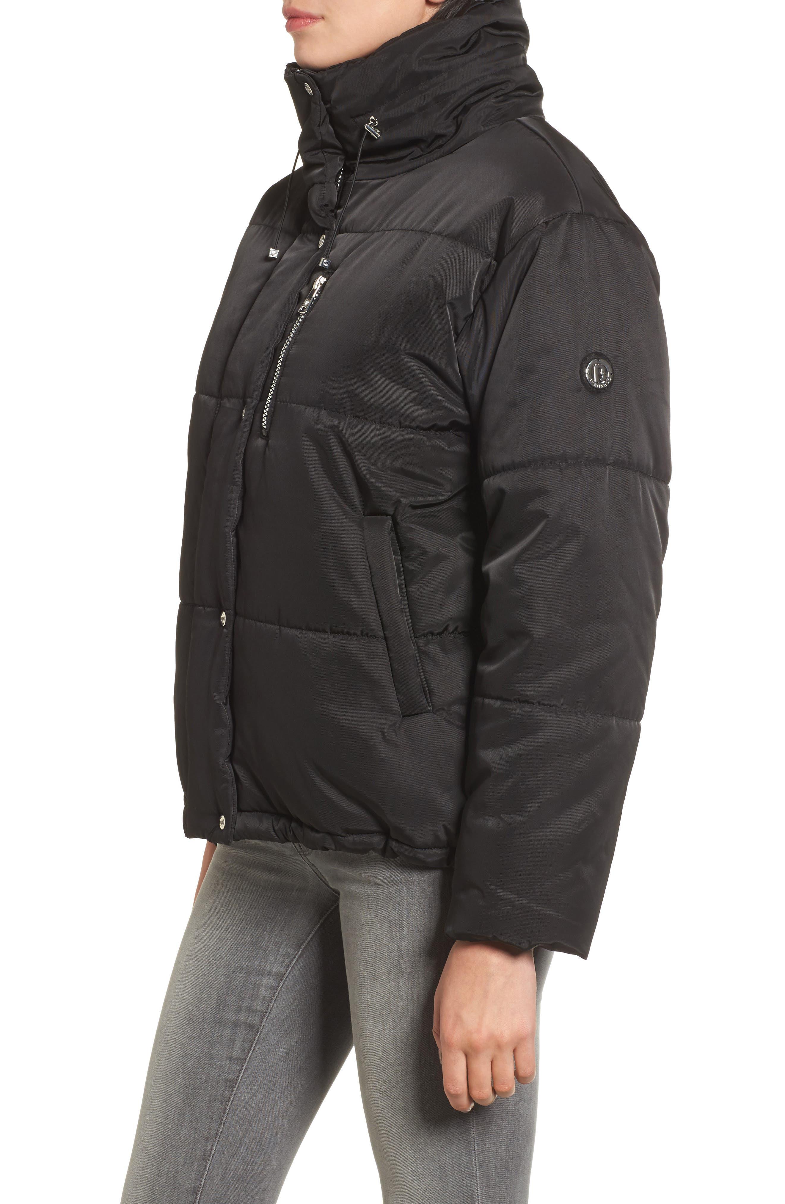 Oversize Puffer Jacket,                             Alternate thumbnail 3, color,                             Black