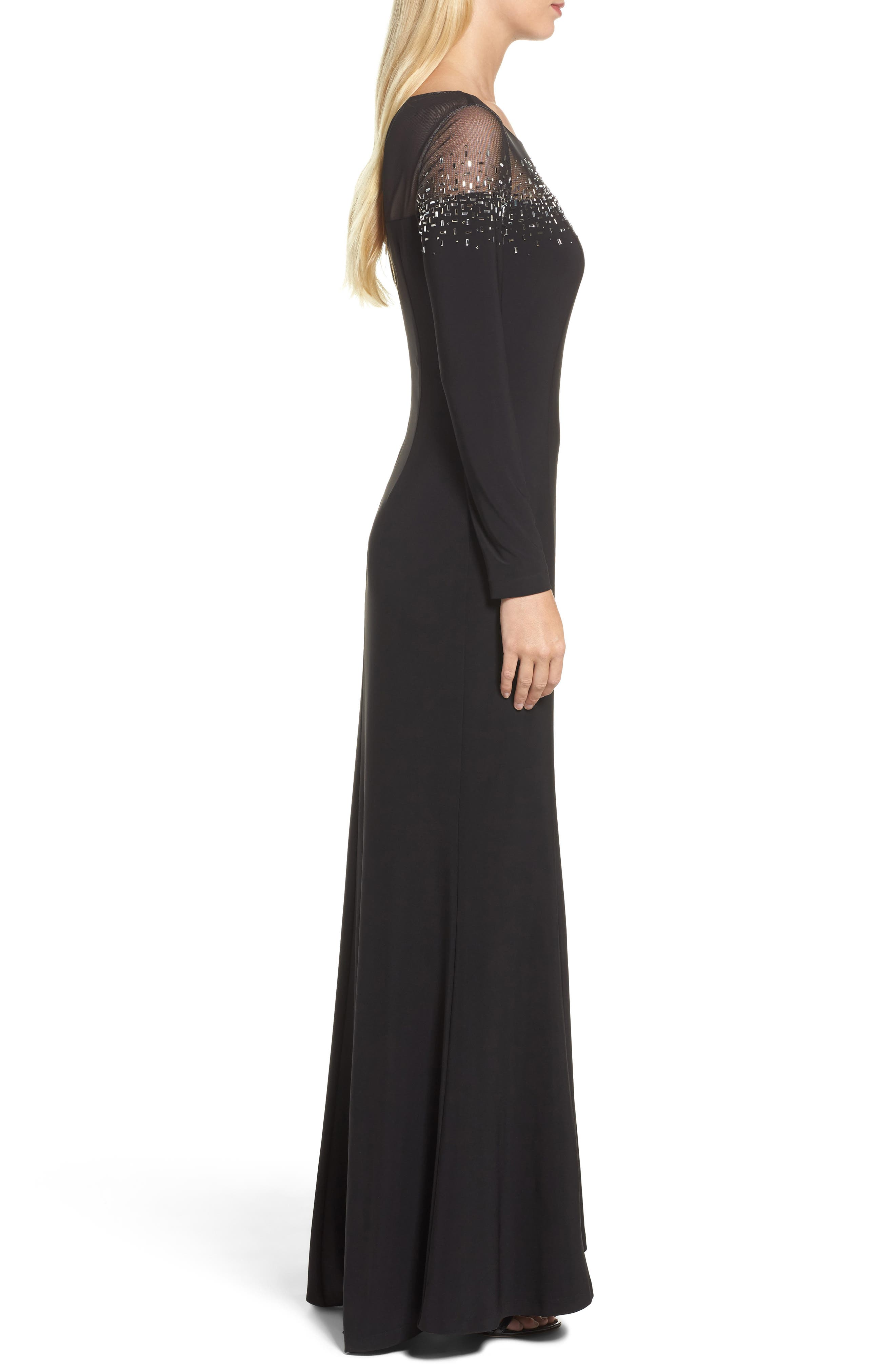 Embellished Jersey Gown,                             Alternate thumbnail 3, color,                             Black