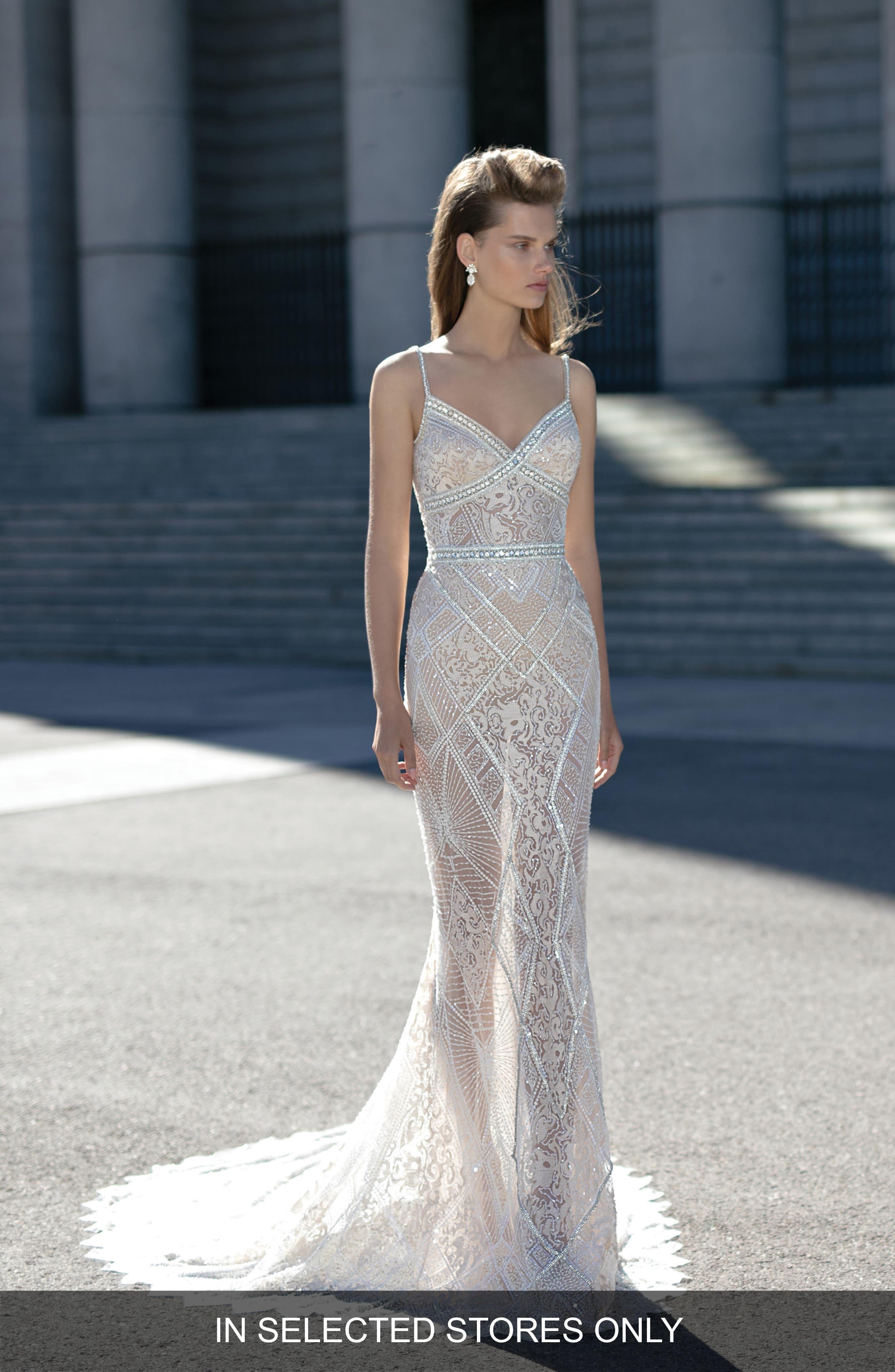 Berta Beaded Sheer Lace Column Dress
