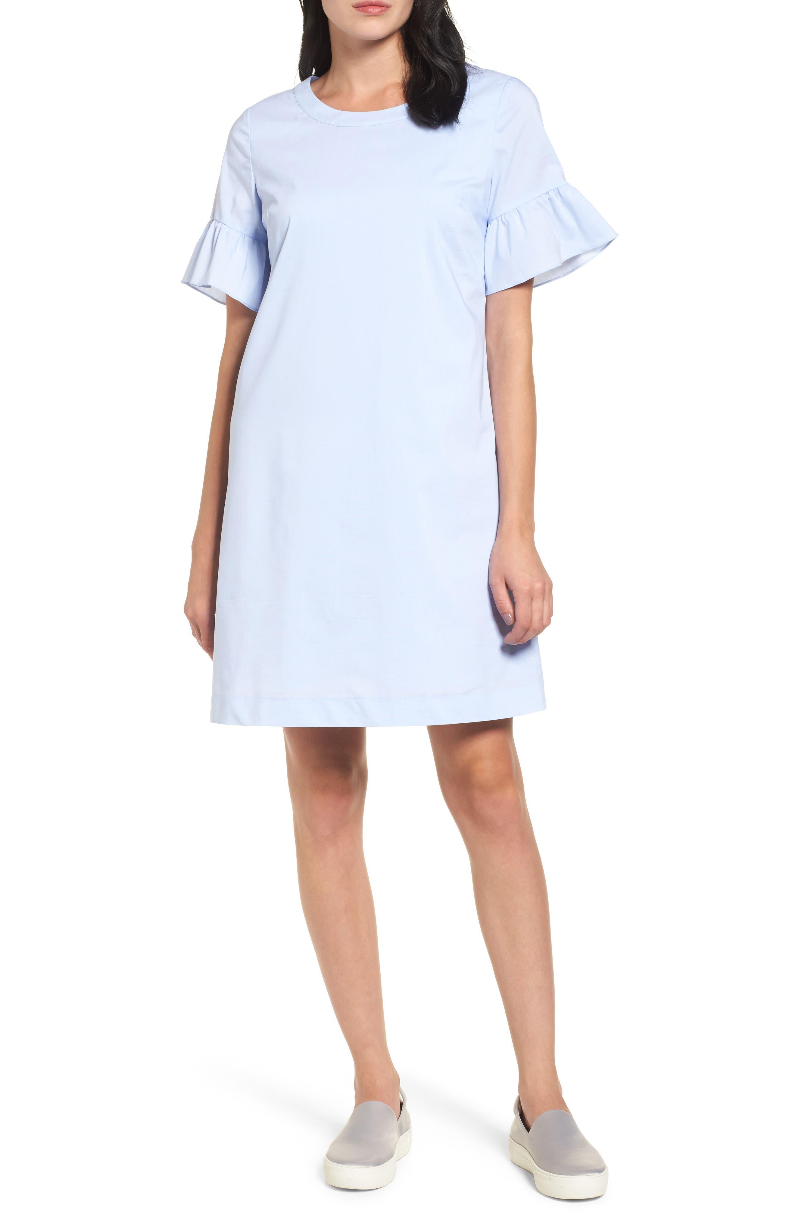 Tie Back Ruffle Sleeve Dress,                         Main,                         color, Blue Shirting