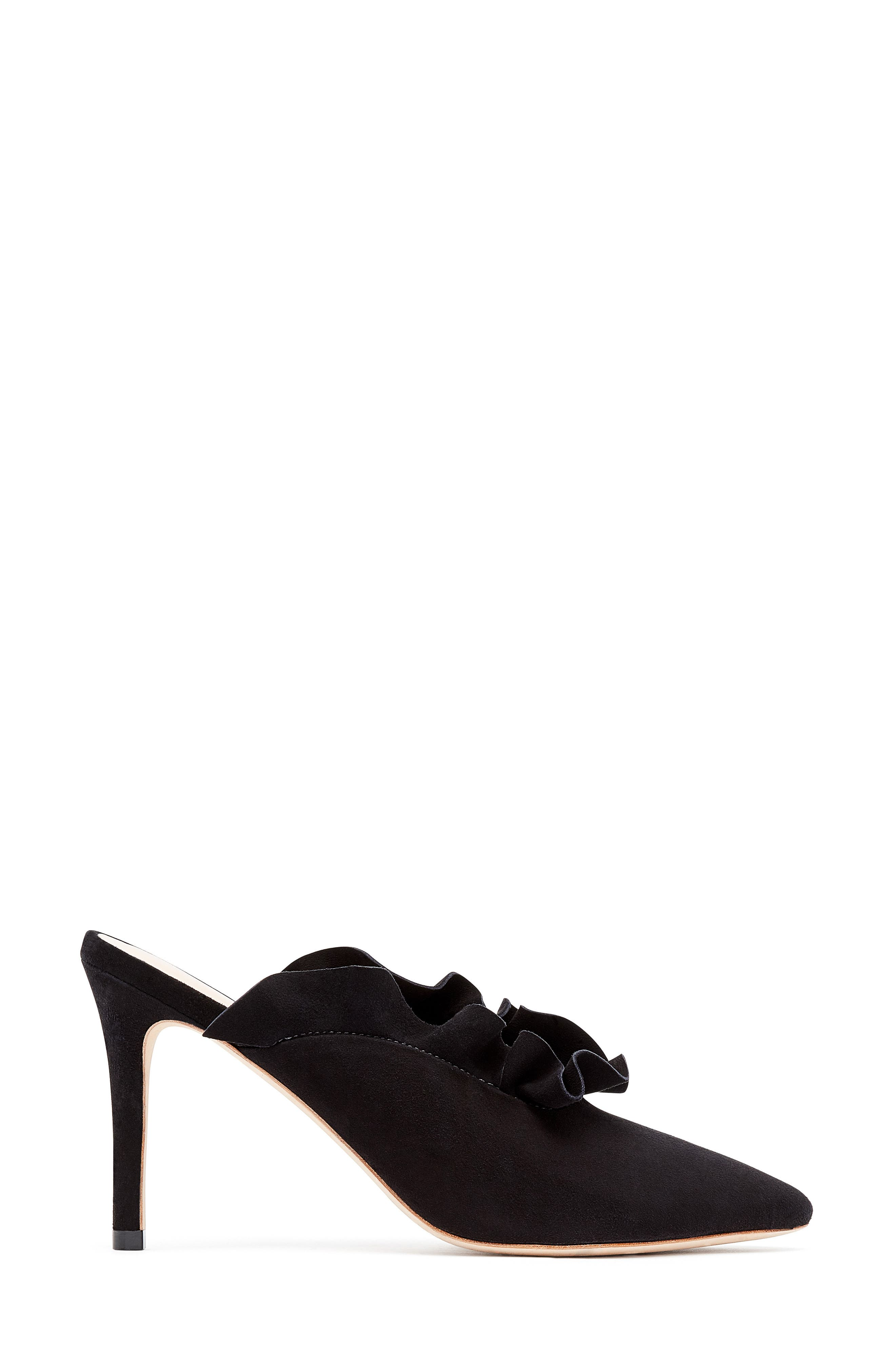 Langley Ruffle Pointy Toe Mule,                             Alternate thumbnail 2, color,                             Black