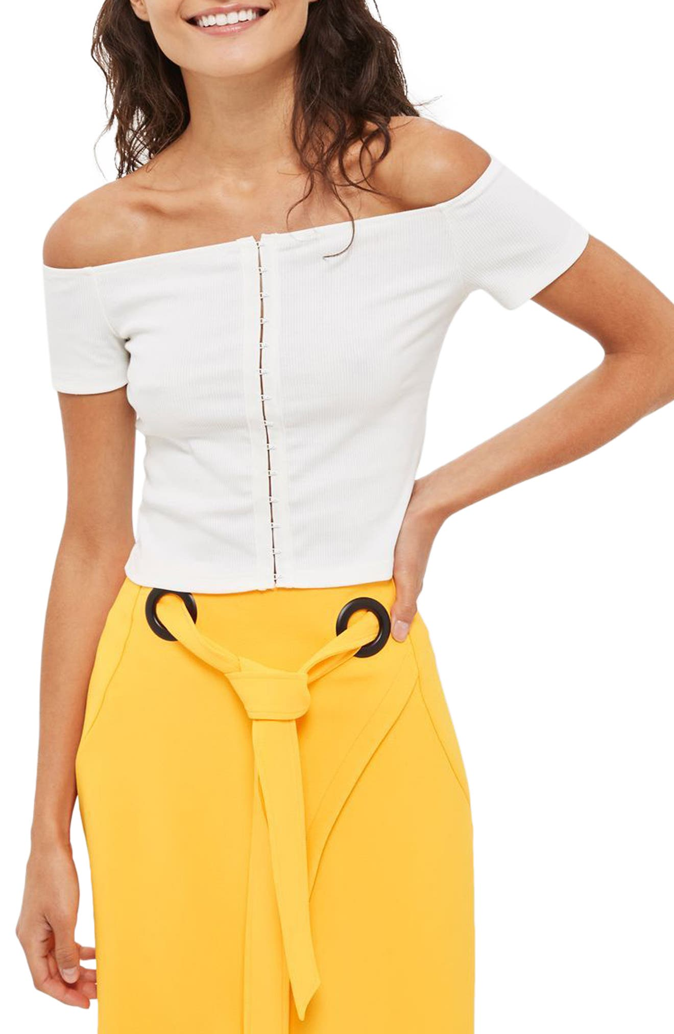 Topshop Crop Off the Shoulder Top