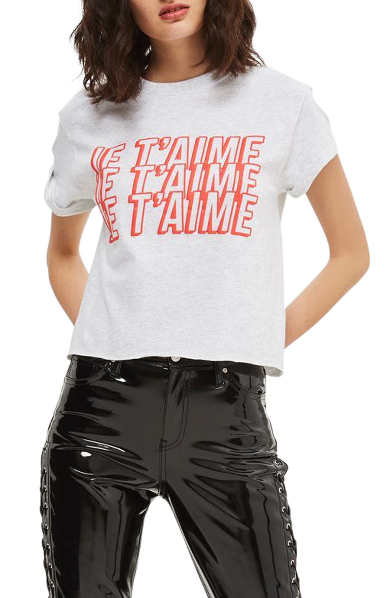 Je T'aime Graphic Crop Tee,                             Main thumbnail 1, color,                             Light Grey